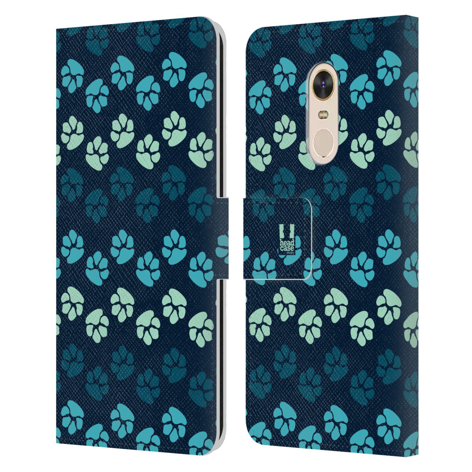 HEAD CASE Flipové pouzdro pro mobil Xiaomi Redmi Note 5 Pejsek ťapky modrá barva