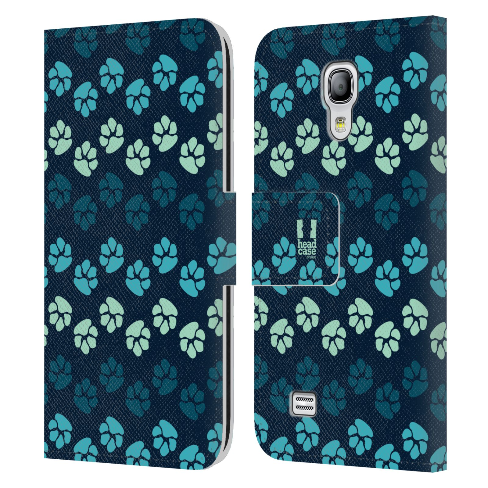 HEAD CASE Flipové pouzdro pro mobil Samsung Galaxy S4 MINI / S4 MINI DUOS Pejsek ťapky modrá barva