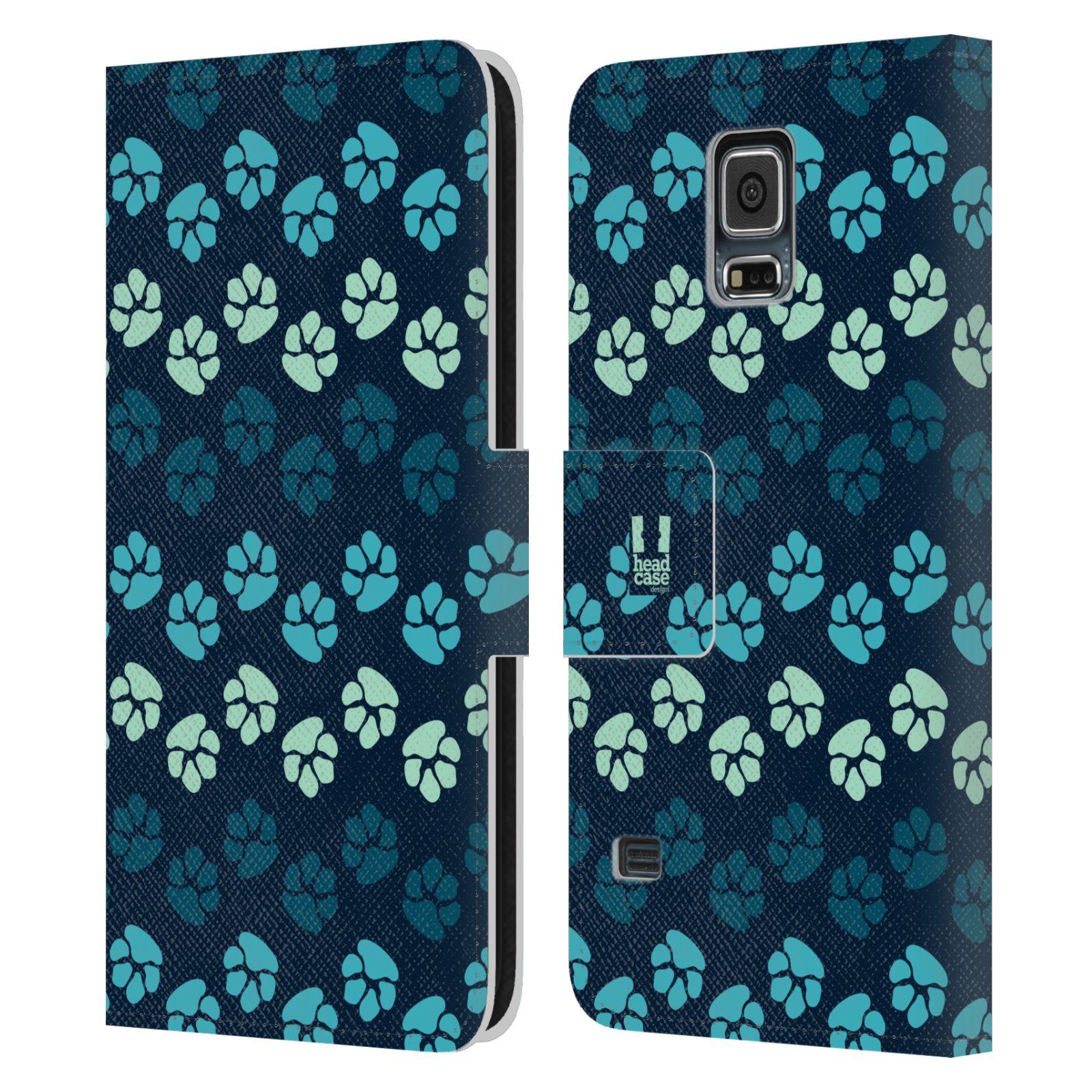 HEAD CASE Flipové pouzdro pro mobil Samsung Galaxy S5 / S5 NEO Pejsek ťapky modrá barva
