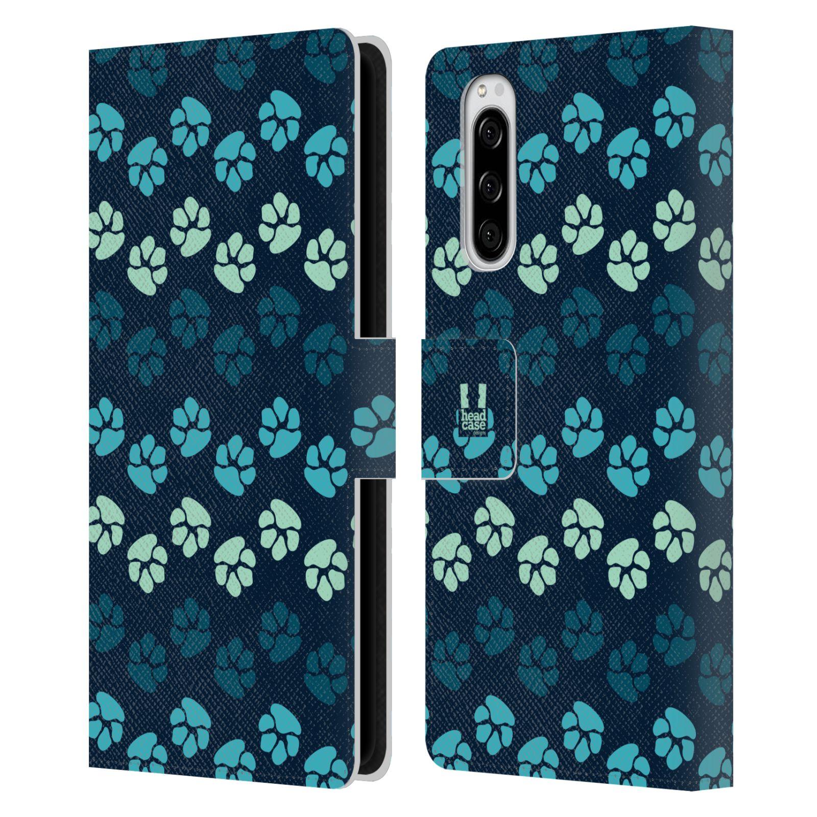 Pouzdro na mobil Sony Xperia 5 Pejsek ťapky modrá barva