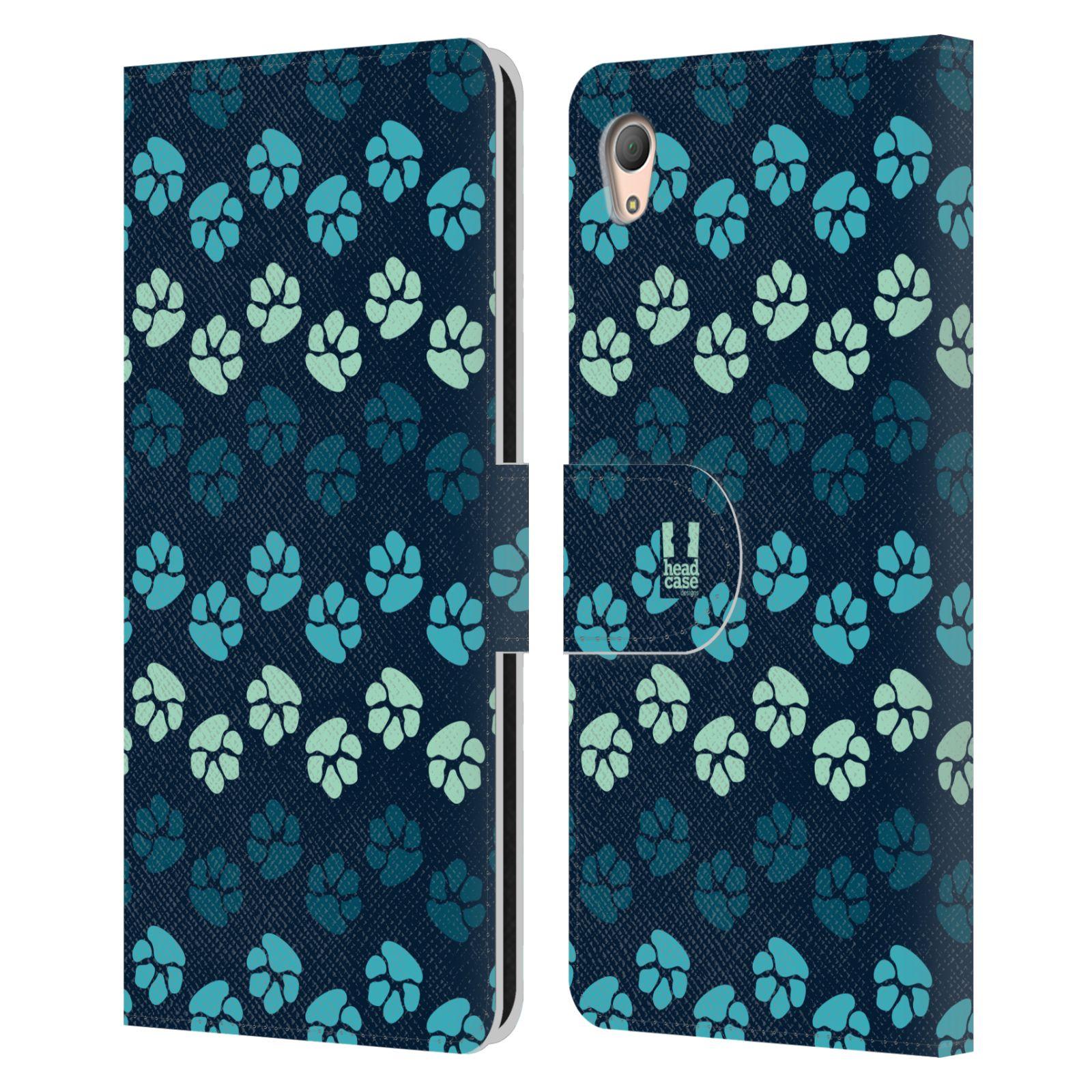 HEAD CASE Flipové pouzdro pro mobil SONY XPERIA Z3+ (PLUS) Pejsek ťapky modrá barva