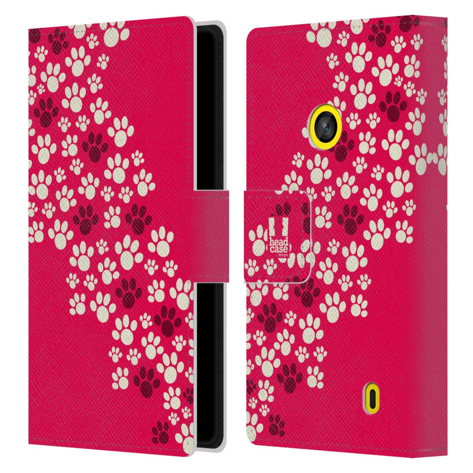 HEAD CASE Flipové pouzdro pro mobil NOKIA LUMIA 520 / 525 Pejsek ťapky růžová barva