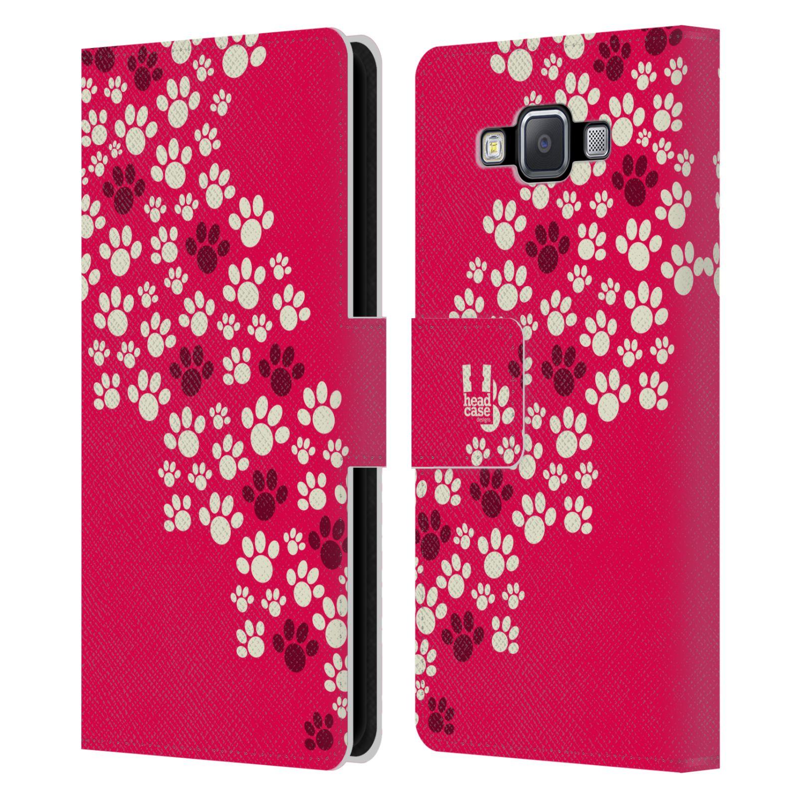 HEAD CASE Flipové pouzdro pro mobil Samsung Galaxy A5 Pejsek ťapky růžová barva