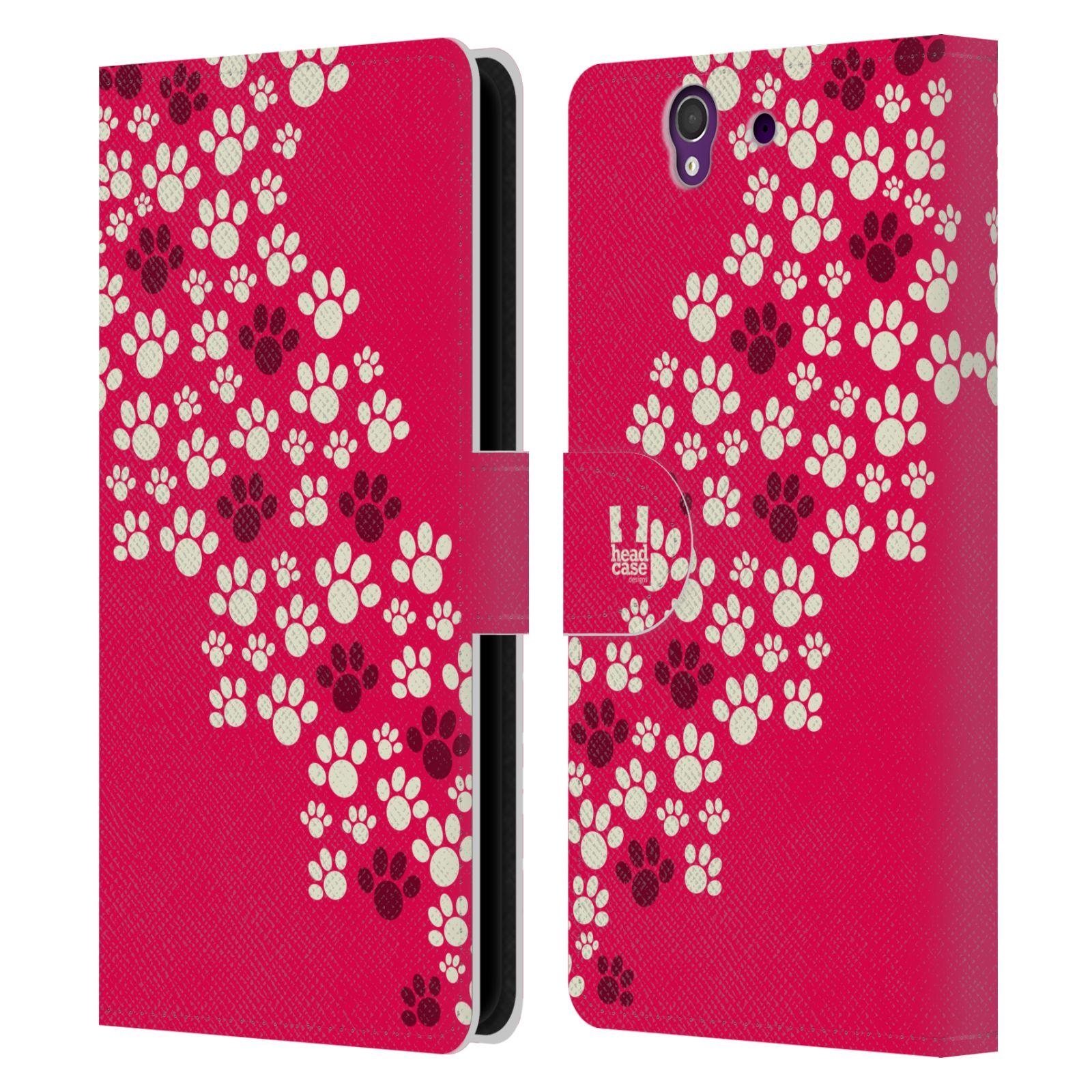 HEAD CASE Flipové pouzdro pro mobil SONY XPERIA Z (C6603) Pejsek ťapky růžová barva