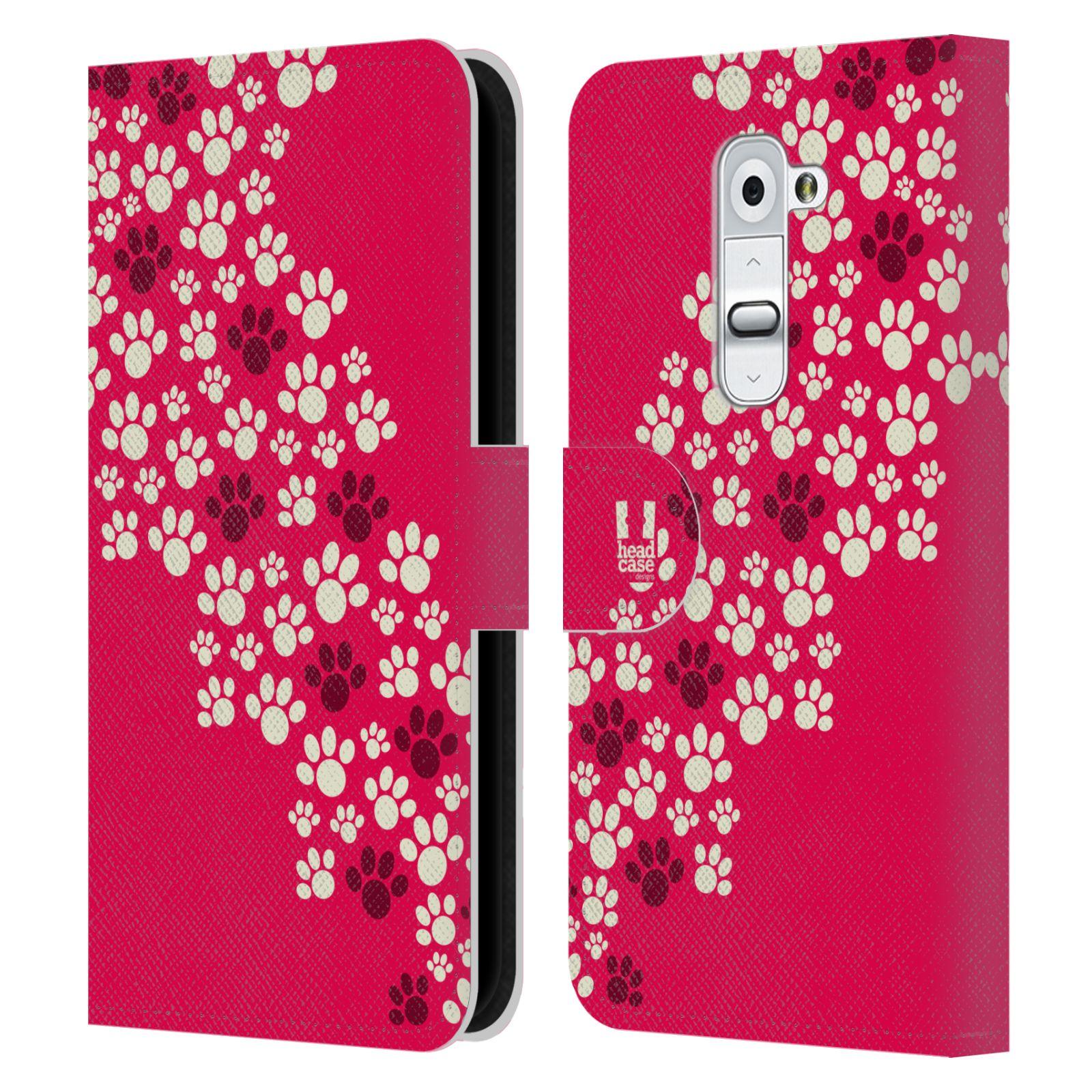 HEAD CASE Flipové pouzdro pro mobil LG G2 (D802) Pejsek ťapky růžová barva