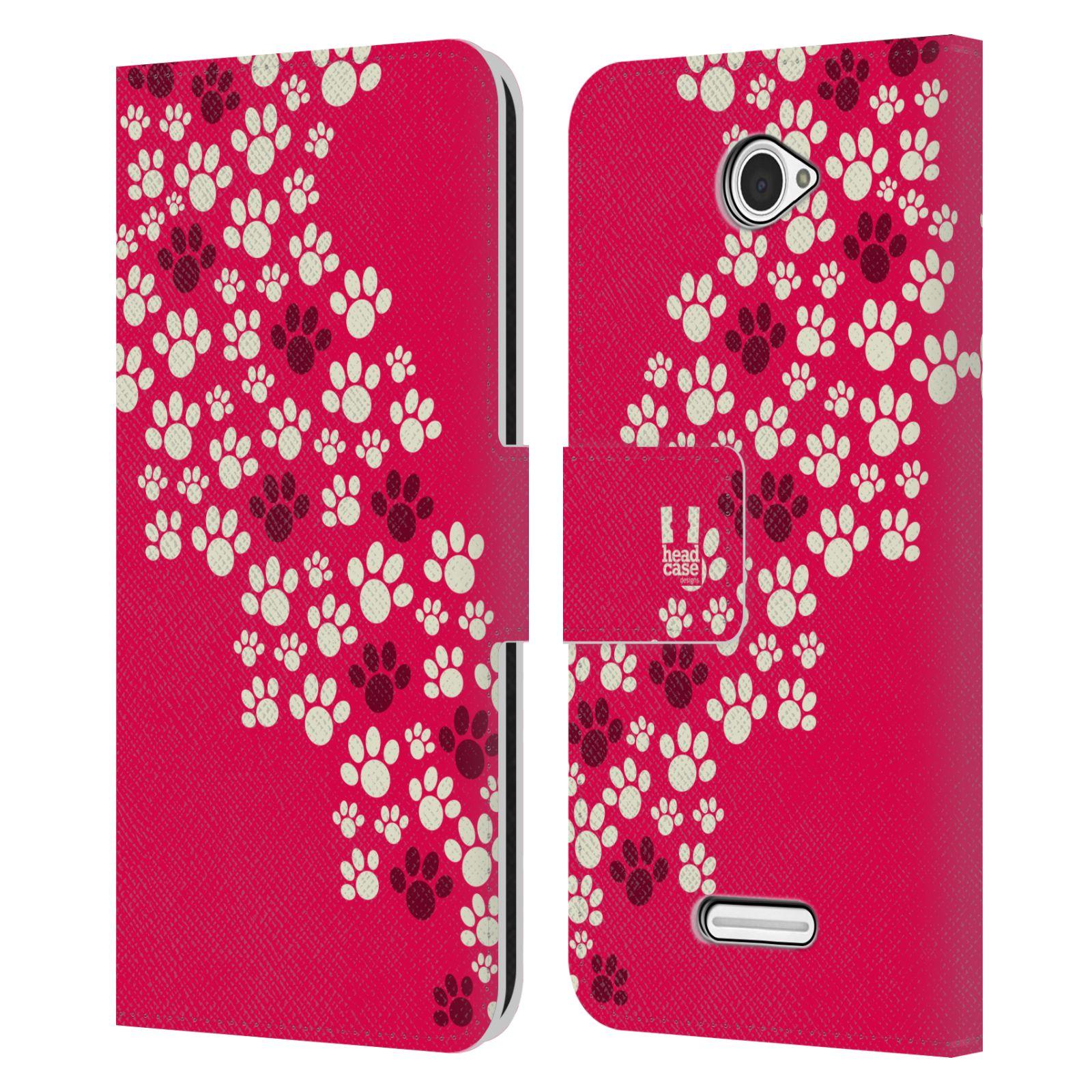 HEAD CASE Flipové pouzdro pro mobil SONY XPERIA E4 Pejsek ťapky růžová barva