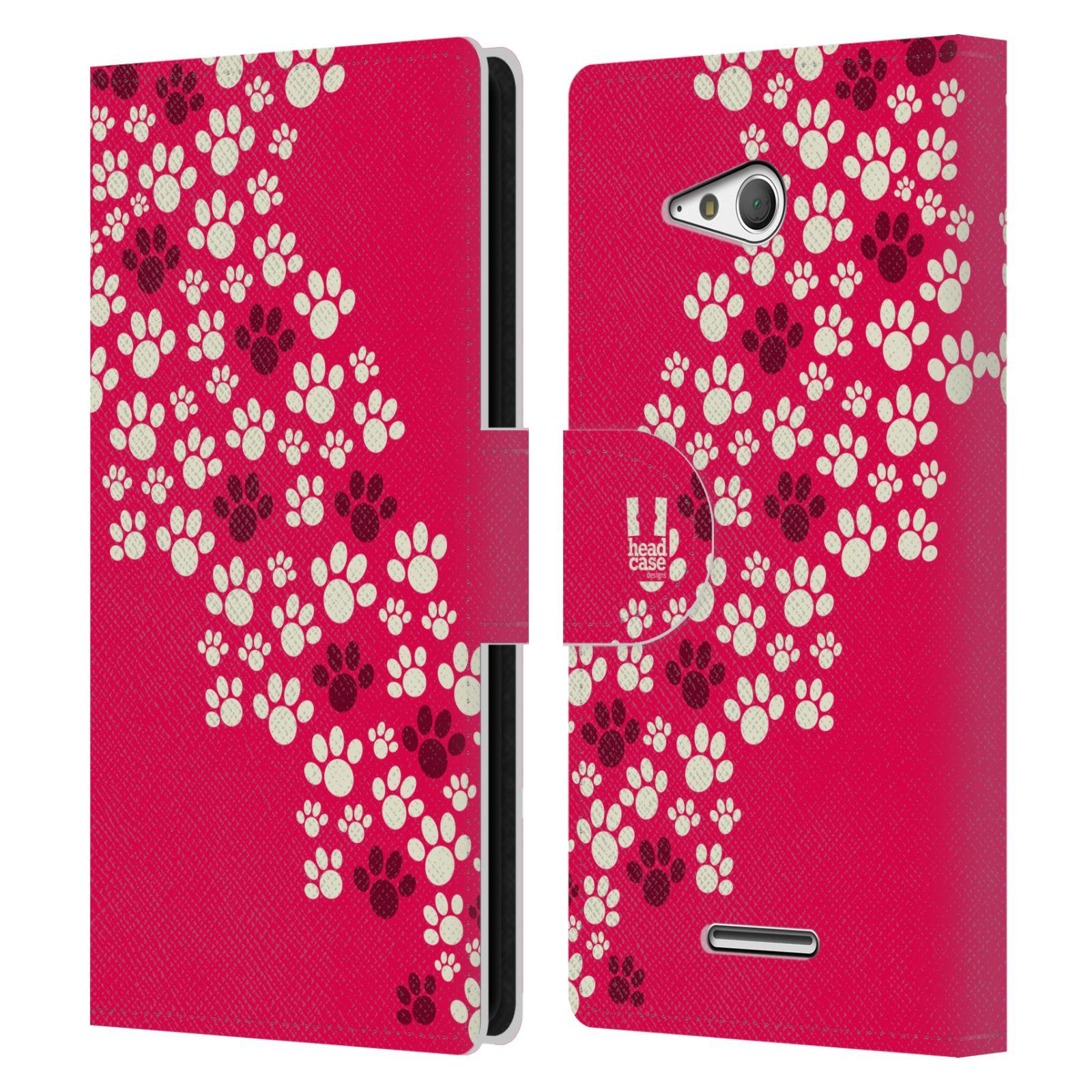 HEAD CASE Flipové pouzdro pro mobil SONY XPERIA E4g Pejsek ťapky růžová barva