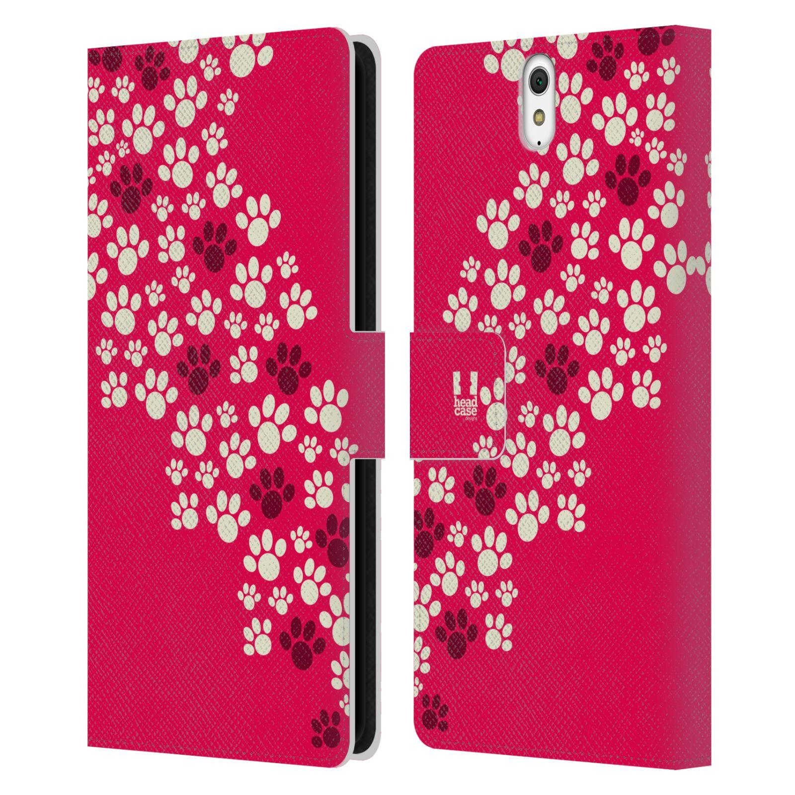 HEAD CASE Flipové pouzdro pro mobil SONY XPERIA C5 Ultra Pejsek ťapky růžová barva