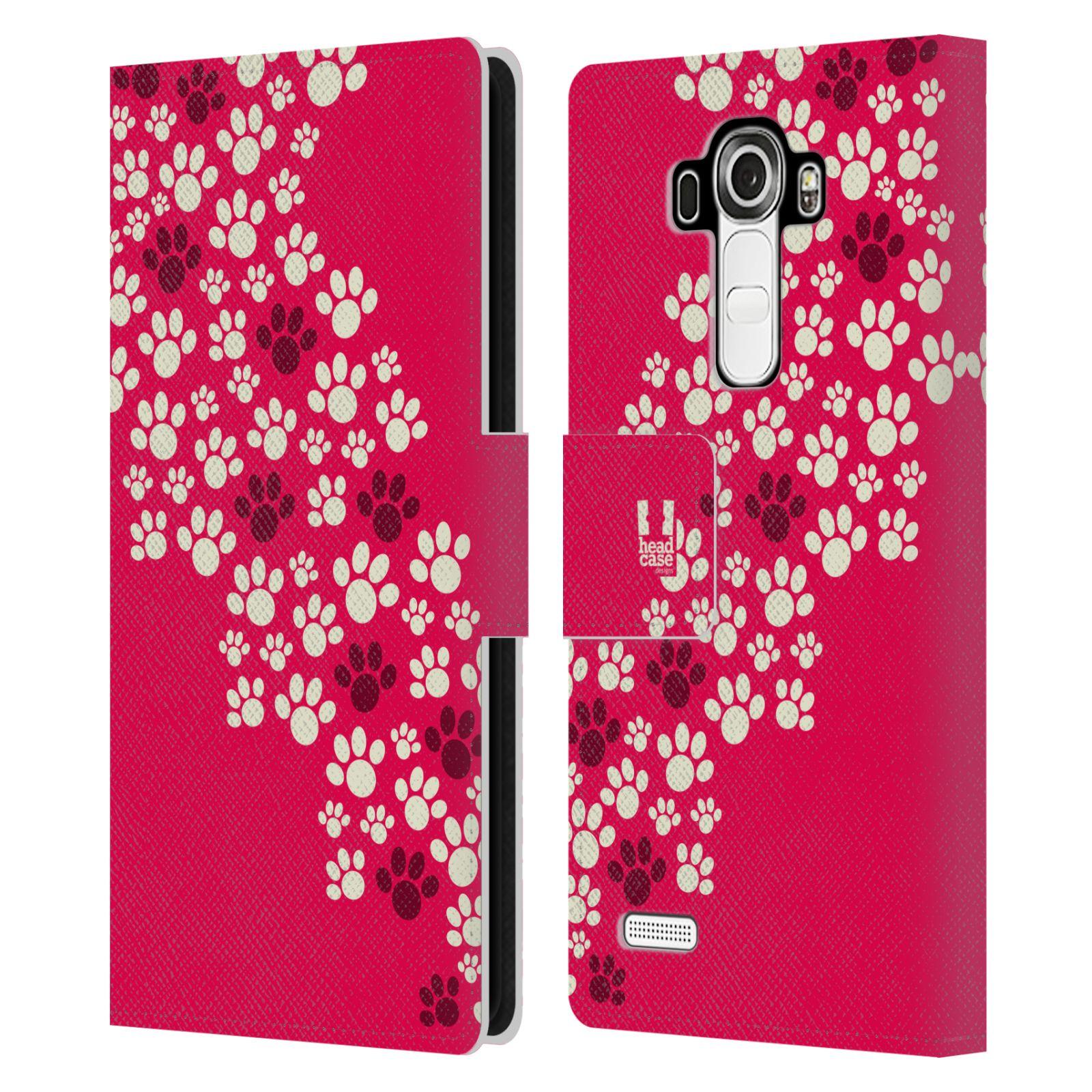 HEAD CASE Flipové pouzdro pro mobil LG G4 (H815) Pejsek ťapky růžová barva