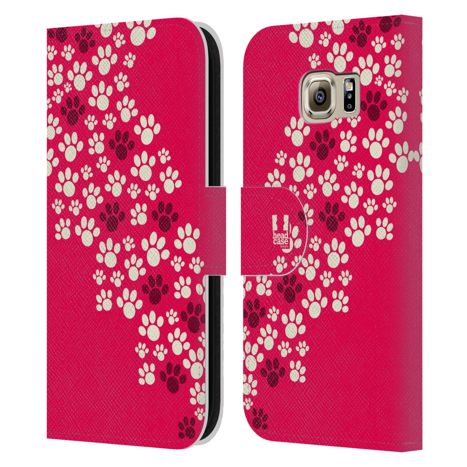 HEAD CASE Flipové pouzdro pro mobil Samsung Galaxy S6 (G9200) Pejsek ťapky růžová barva