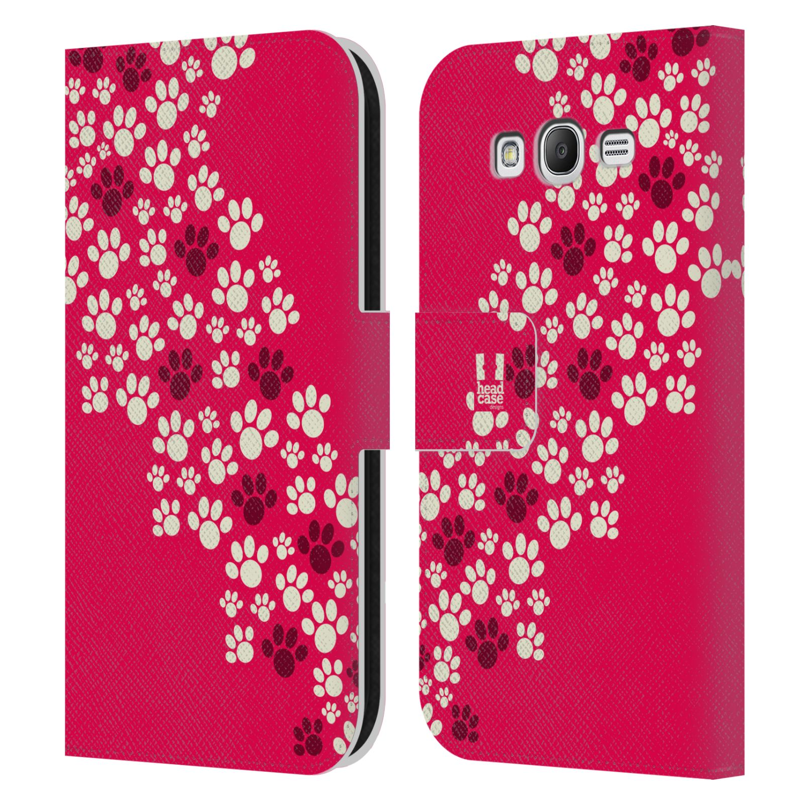 HEAD CASE Flipové pouzdro pro mobil Samsung Galaxy Grand i9080 Pejsek ťapky růžová barva