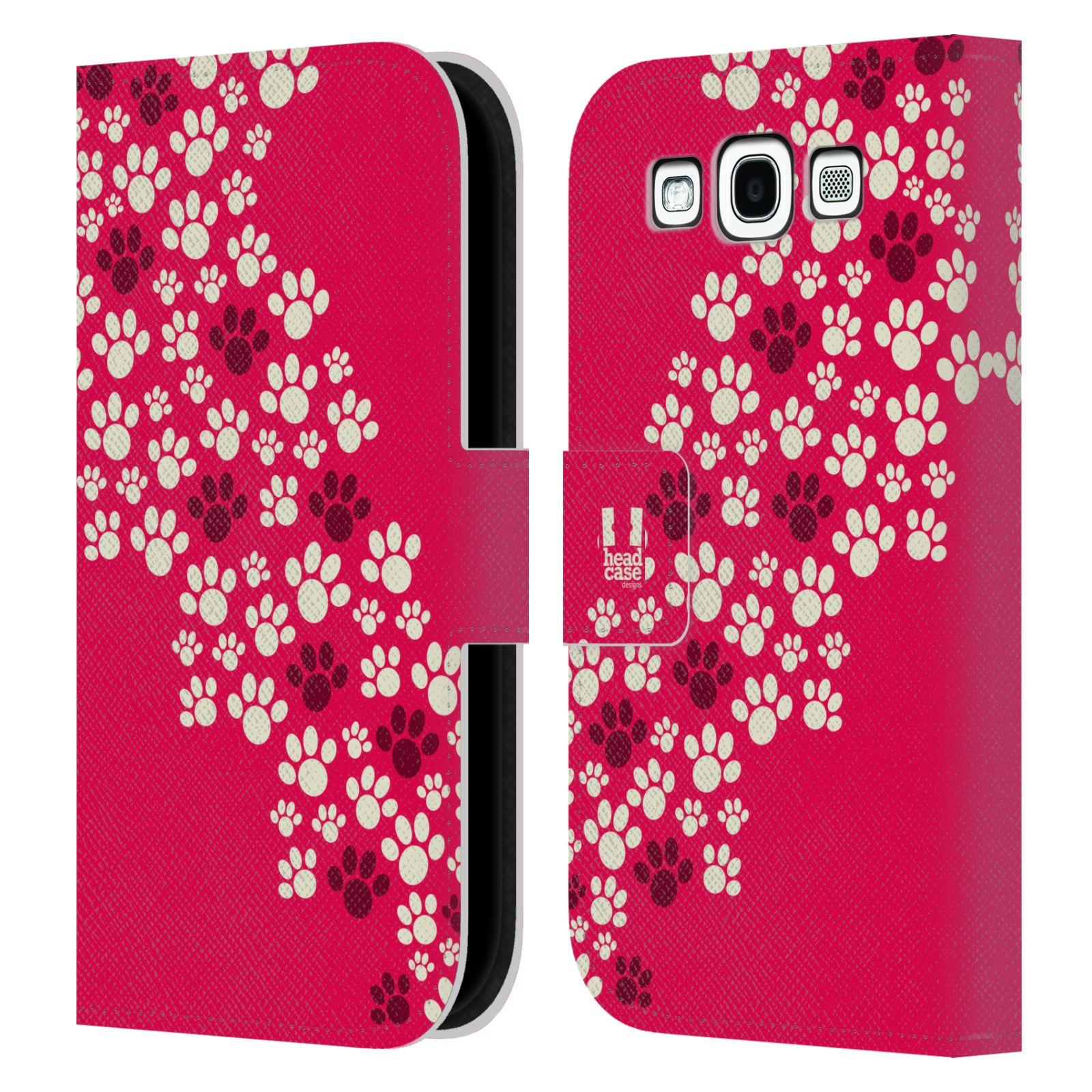 HEAD CASE Flipové pouzdro pro mobil Samsung Galaxy S3 Pejsek ťapky růžová barva