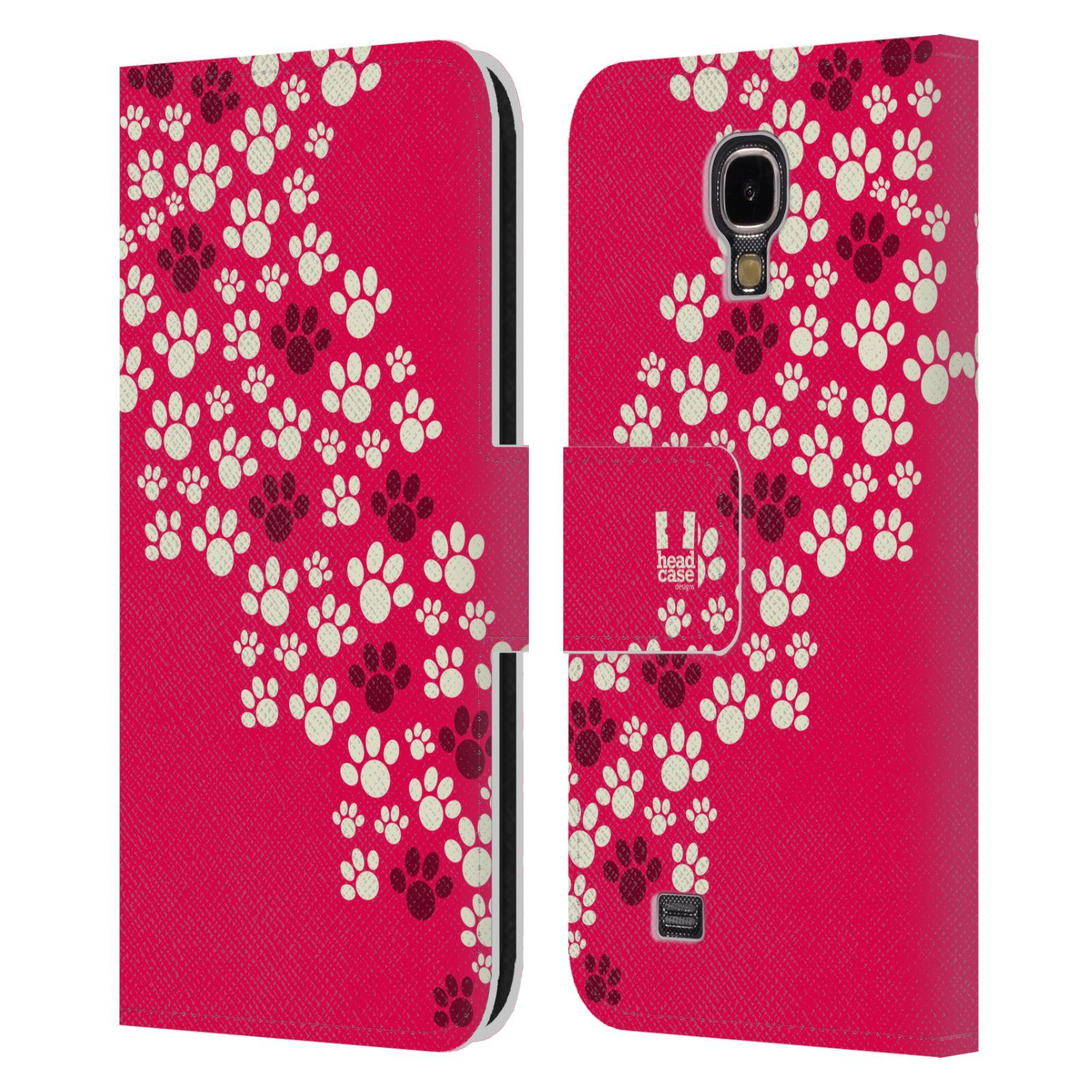HEAD CASE Flipové pouzdro pro mobil Samsung Galaxy S4 Pejsek ťapky růžová barva