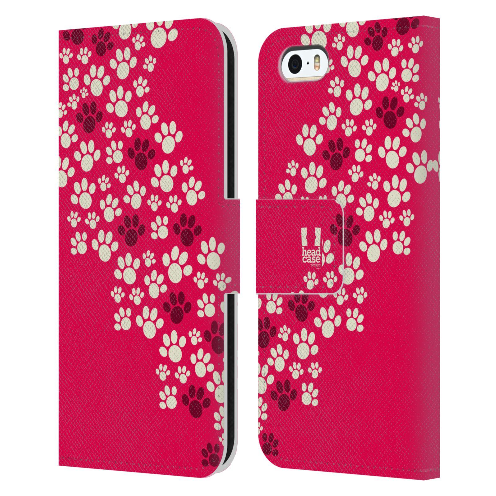 HEAD CASE Flipové pouzdro pro mobil Apple Iphone 5/5s Pejsek ťapky růžová barva