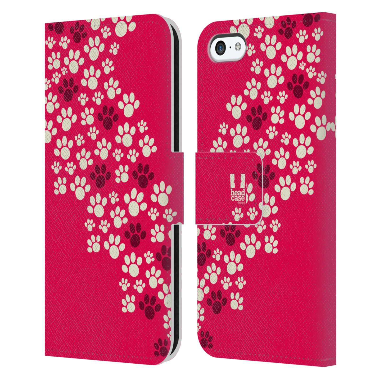 HEAD CASE Flipové pouzdro pro mobil Apple Iphone 5C Pejsek ťapky růžová barva
