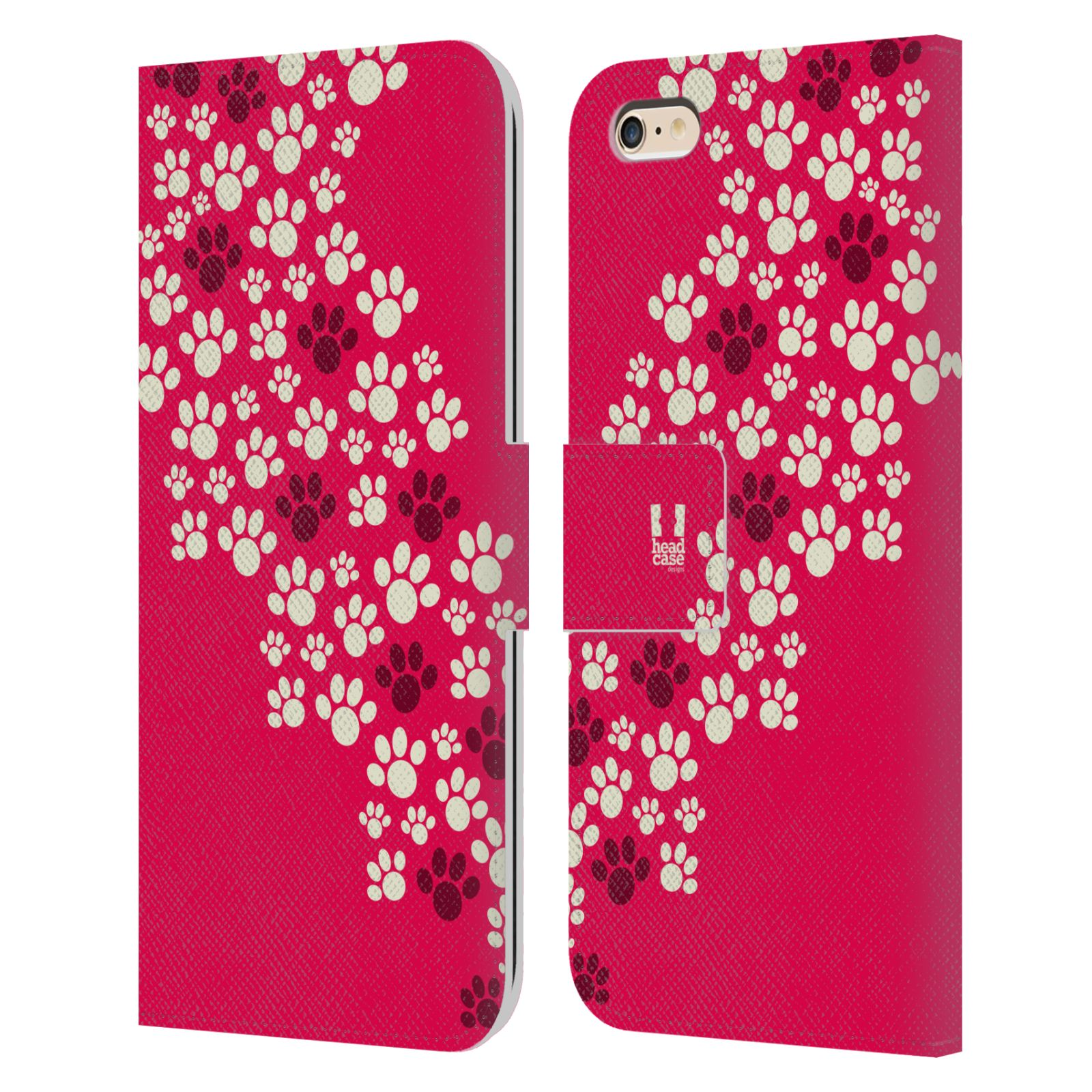 HEAD CASE Flipové pouzdro pro mobil Apple Iphone 6 PLUS / 6S PLUS Pejsek ťapky růžová barva