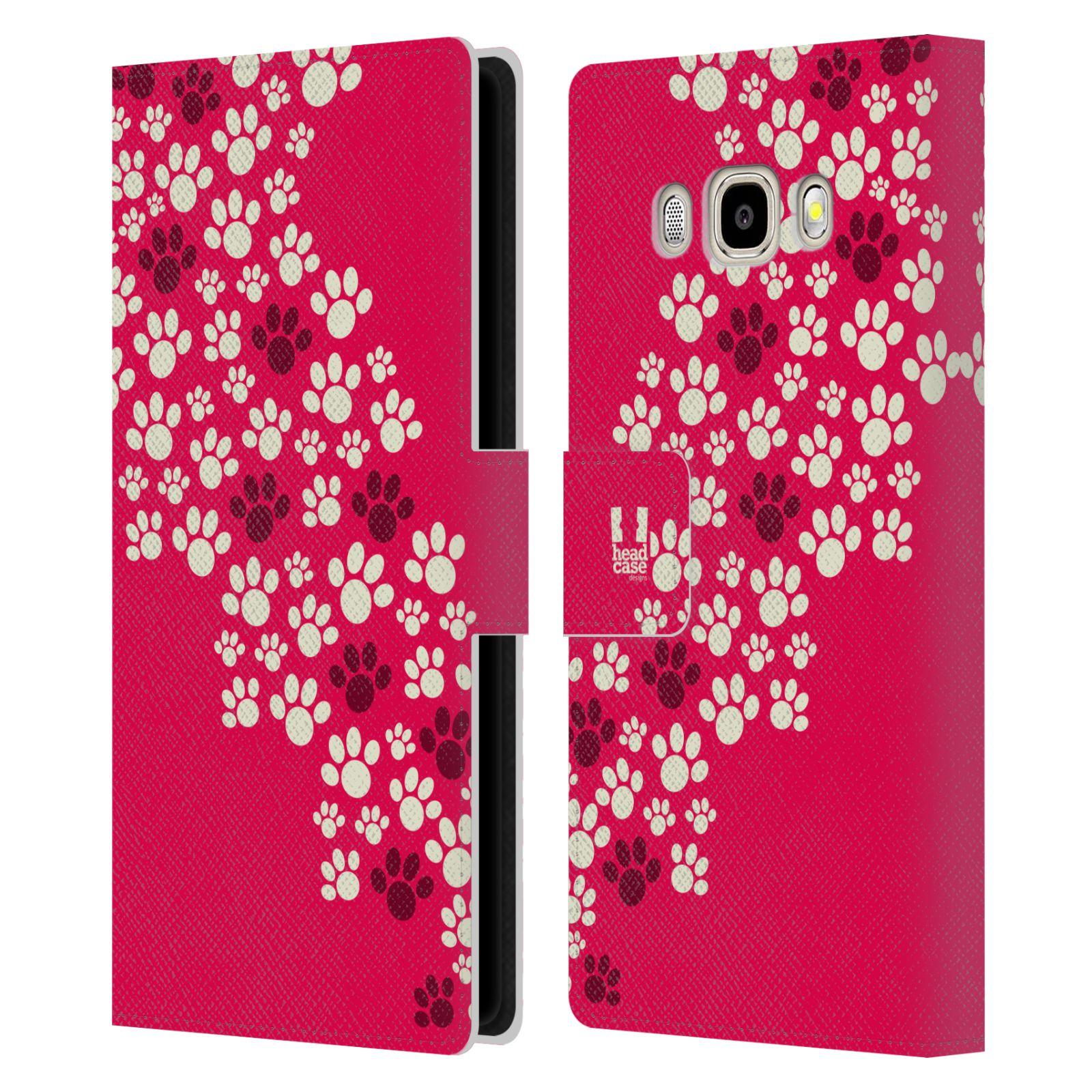 HEAD CASE Flipové pouzdro pro mobil Samsung Galaxy J5 2016 Pejsek ťapky růžová barva