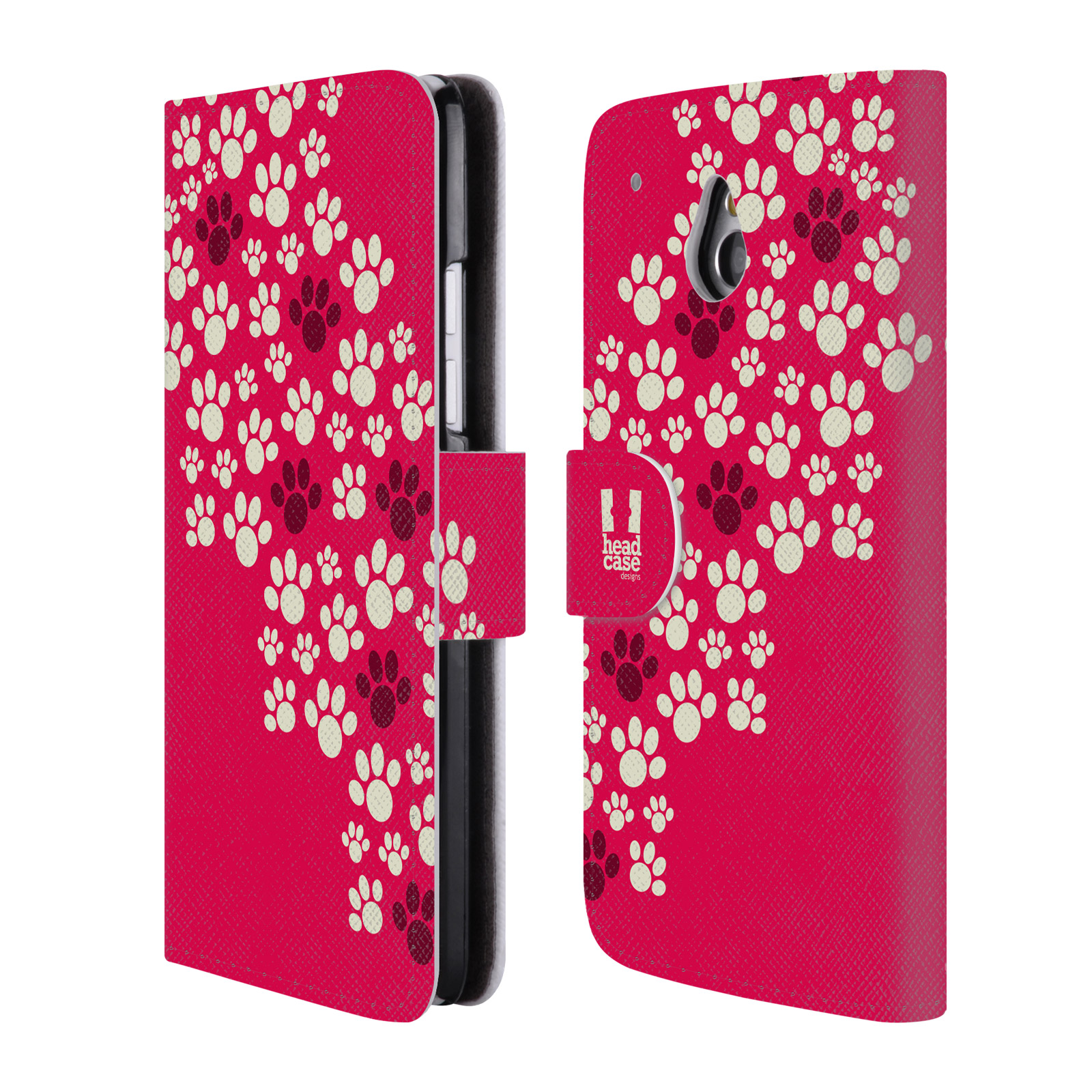 HEAD CASE Flipové pouzdro pro mobil HTC ONE MINI (M4) Pejsek ťapky růžová barva