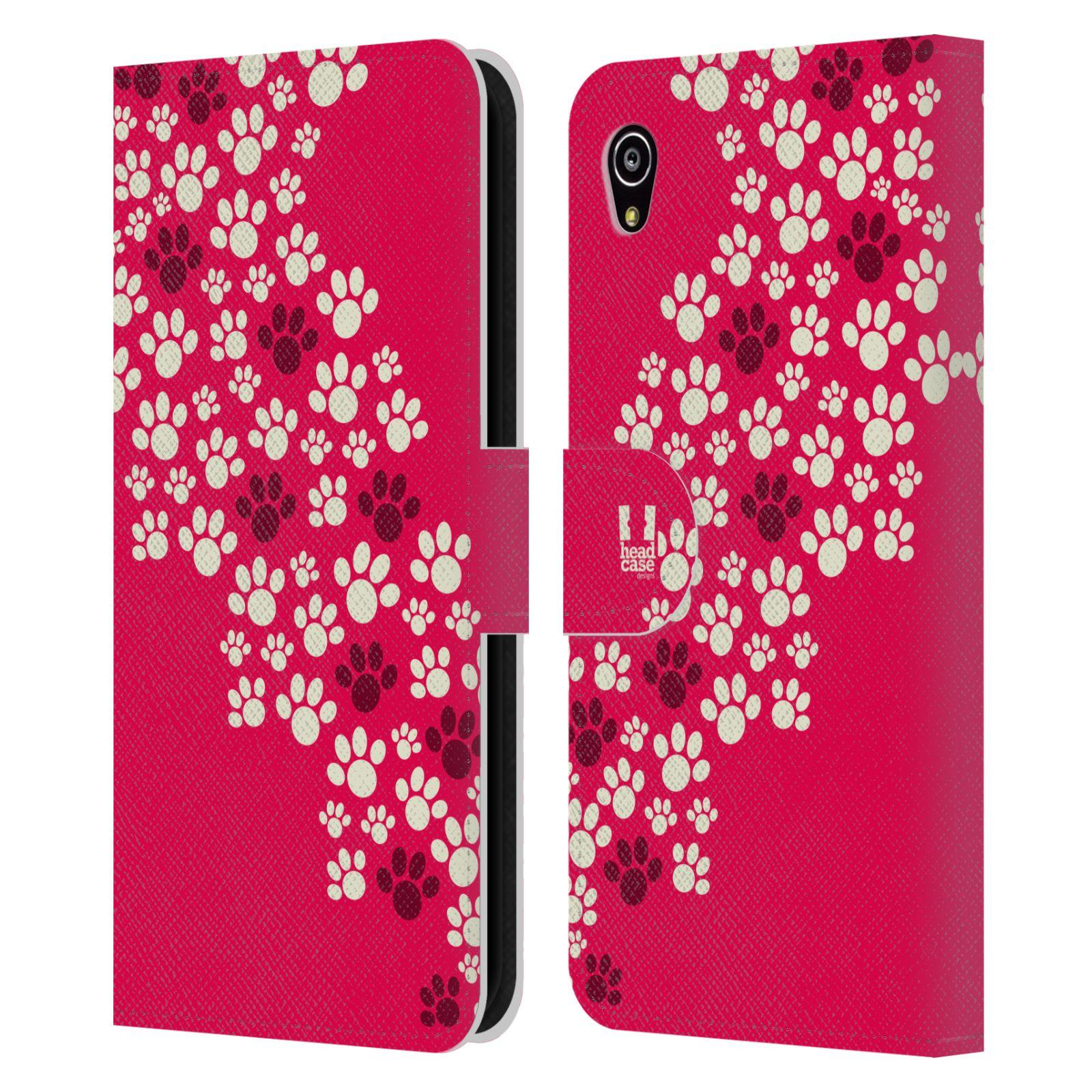 HEAD CASE Flipové pouzdro pro mobil SONY XPERIA M4 AQUA Pejsek ťapky růžová barva