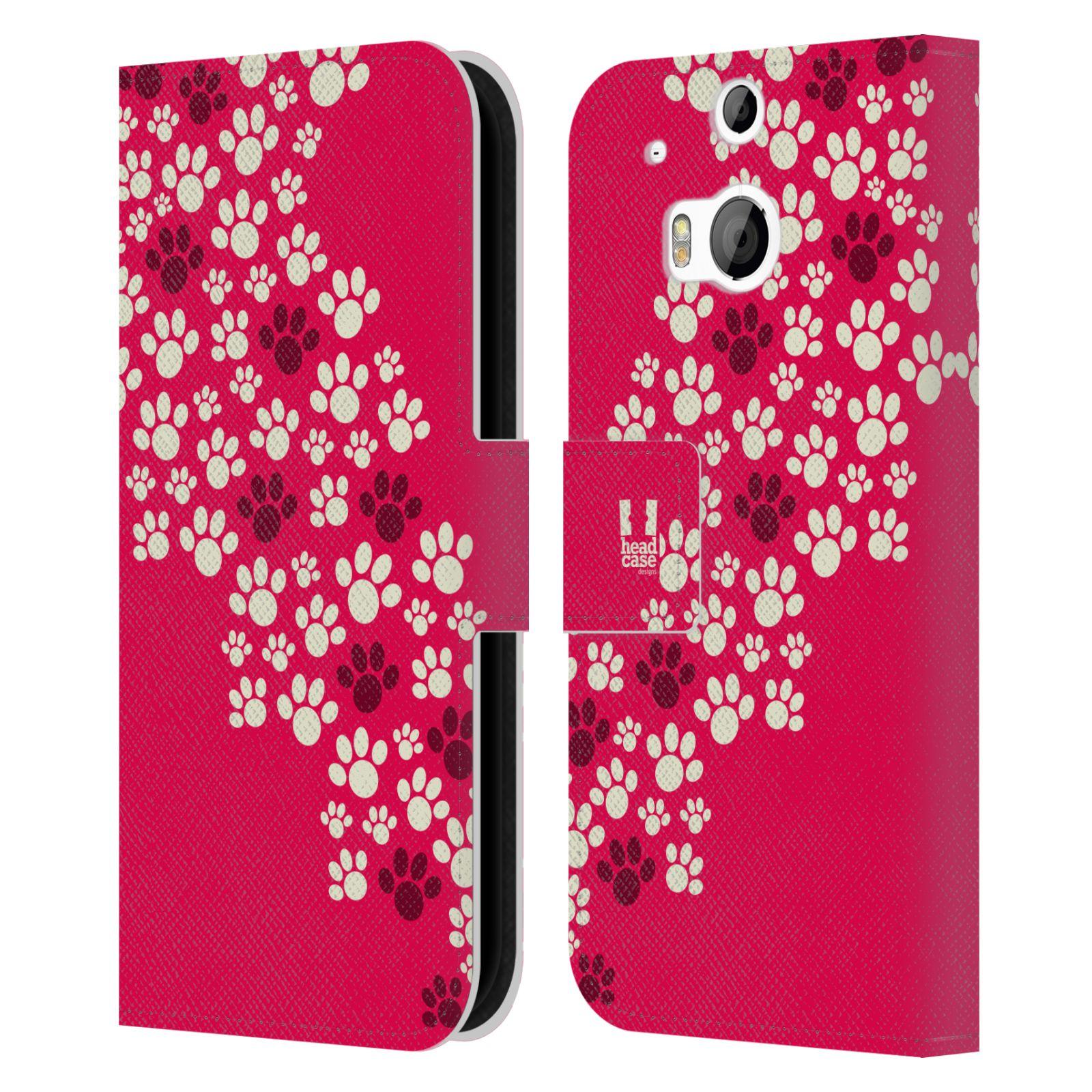 HEAD CASE Flipové pouzdro pro mobil HTC ONE (M8, M8s) Pejsek ťapky růžová barva