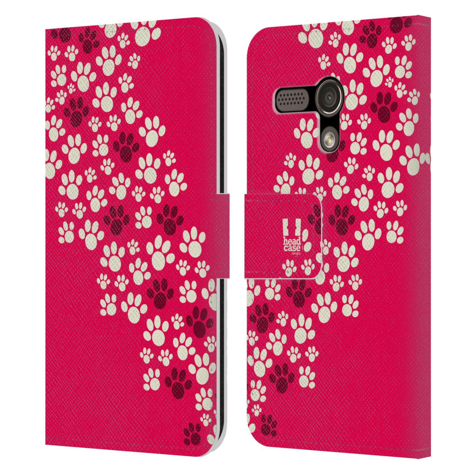 HEAD CASE Flipové pouzdro pro mobil MOTOROLA MOTO G Pejsek ťapky růžová barva