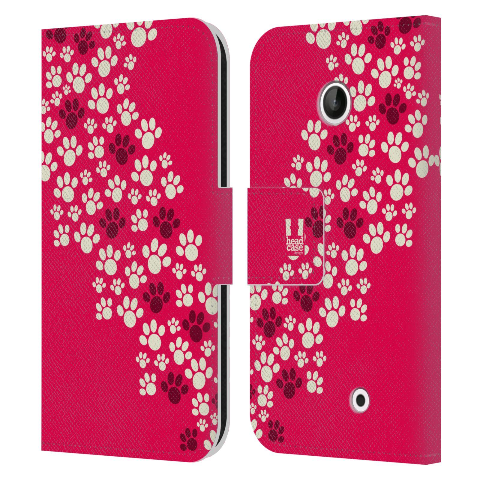 HEAD CASE Flipové pouzdro pro mobil NOKIA LUMIA 630 / LUMIA 630 DUAL Pejsek ťapky růžová barva