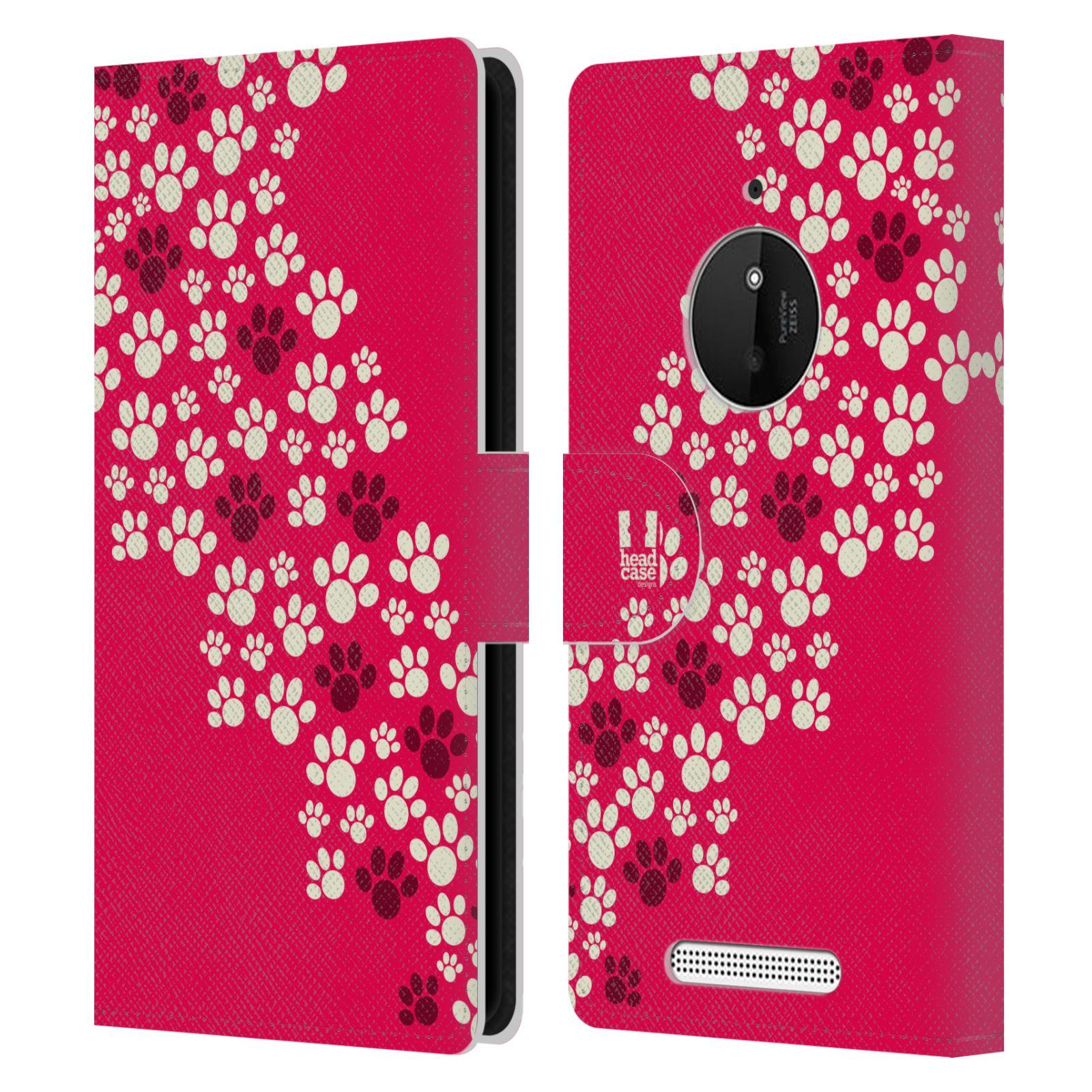 HEAD CASE Flipové pouzdro pro mobil NOKIA LUMIA 830 Pejsek ťapky růžová barva
