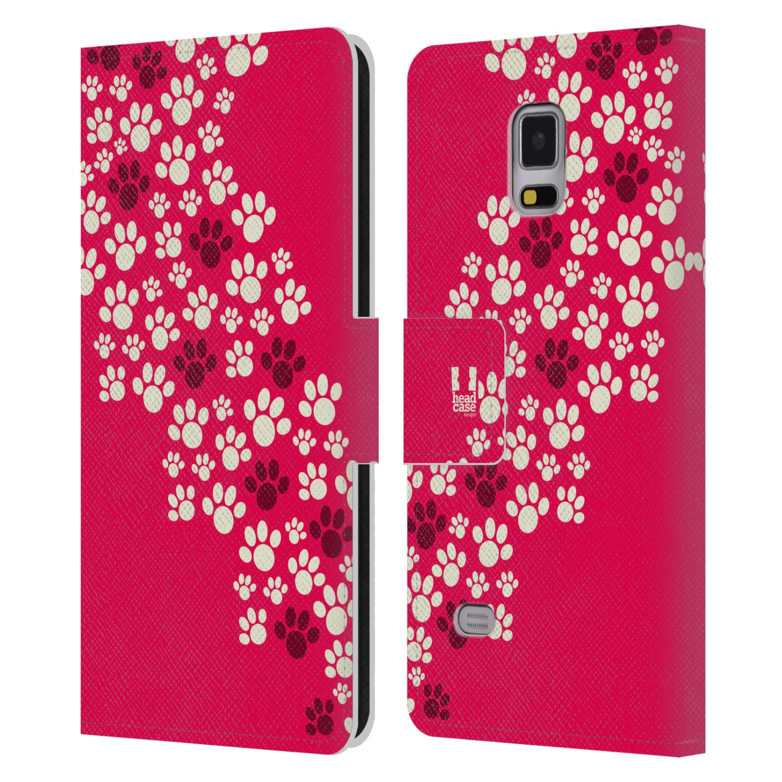 HEAD CASE Flipové pouzdro pro mobil Samsung Galaxy Note 4 Pejsek ťapky růžová barva