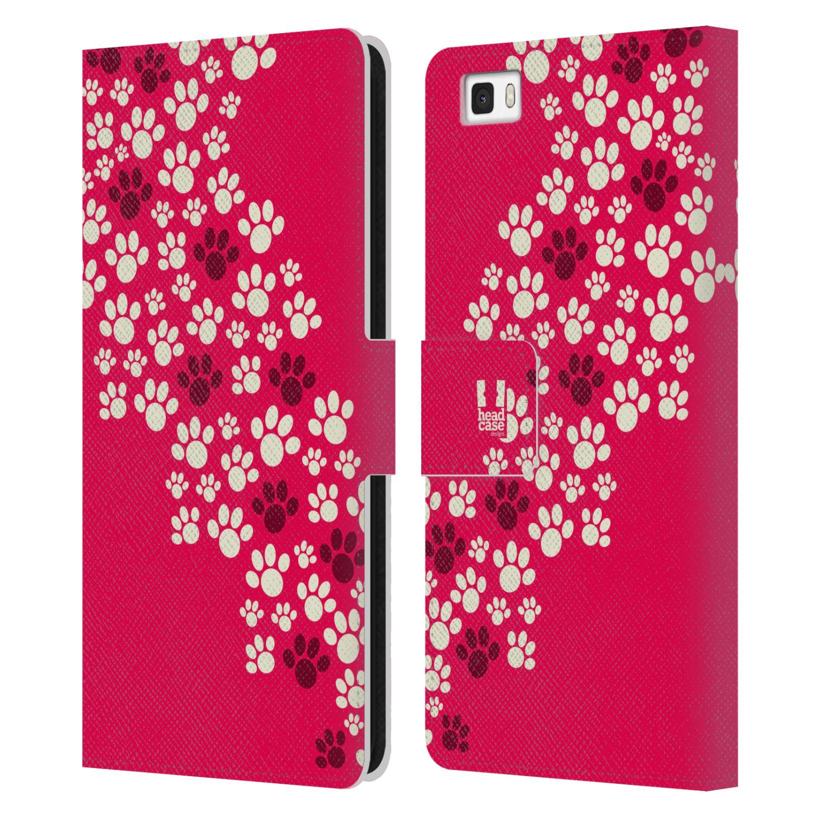 HEAD CASE Flipové pouzdro pro mobil Huawei P8 LITE Pejsek ťapky růžová barva