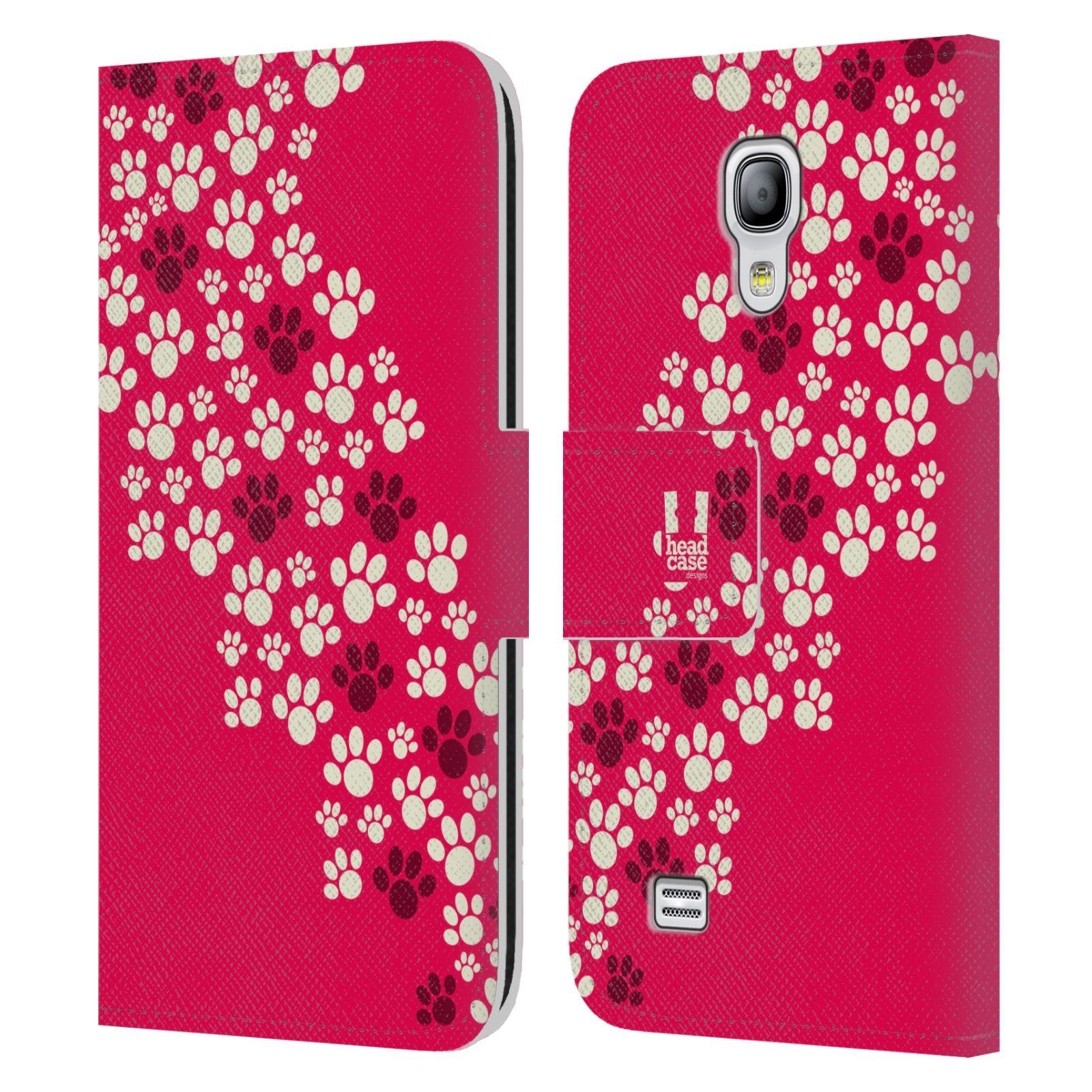 HEAD CASE Flipové pouzdro pro mobil Samsung Galaxy S4 MINI / S4 MINI DUOS Pejsek ťapky růžová barva