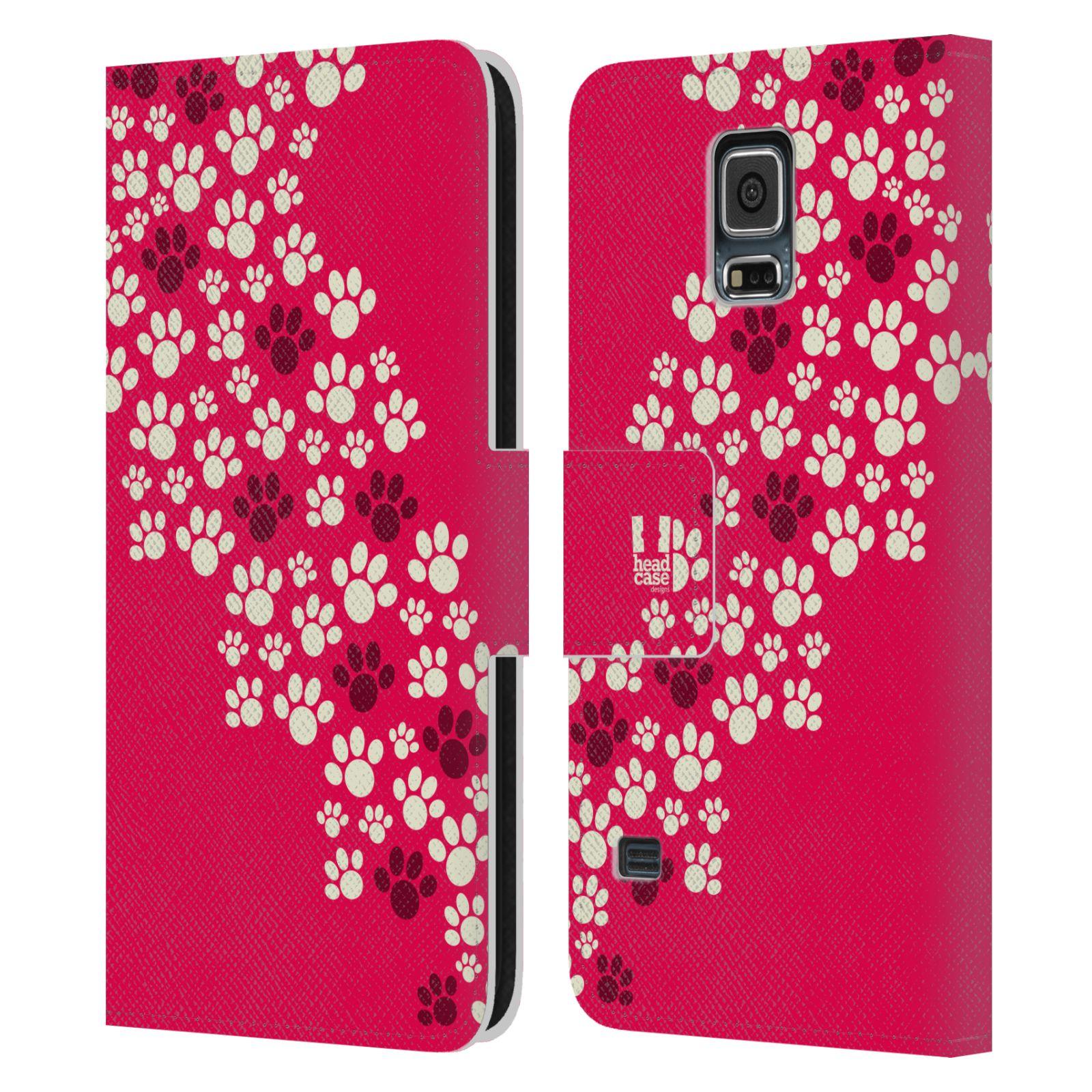 HEAD CASE Flipové pouzdro pro mobil Samsung Galaxy S5 / S5 NEO Pejsek ťapky růžová barva