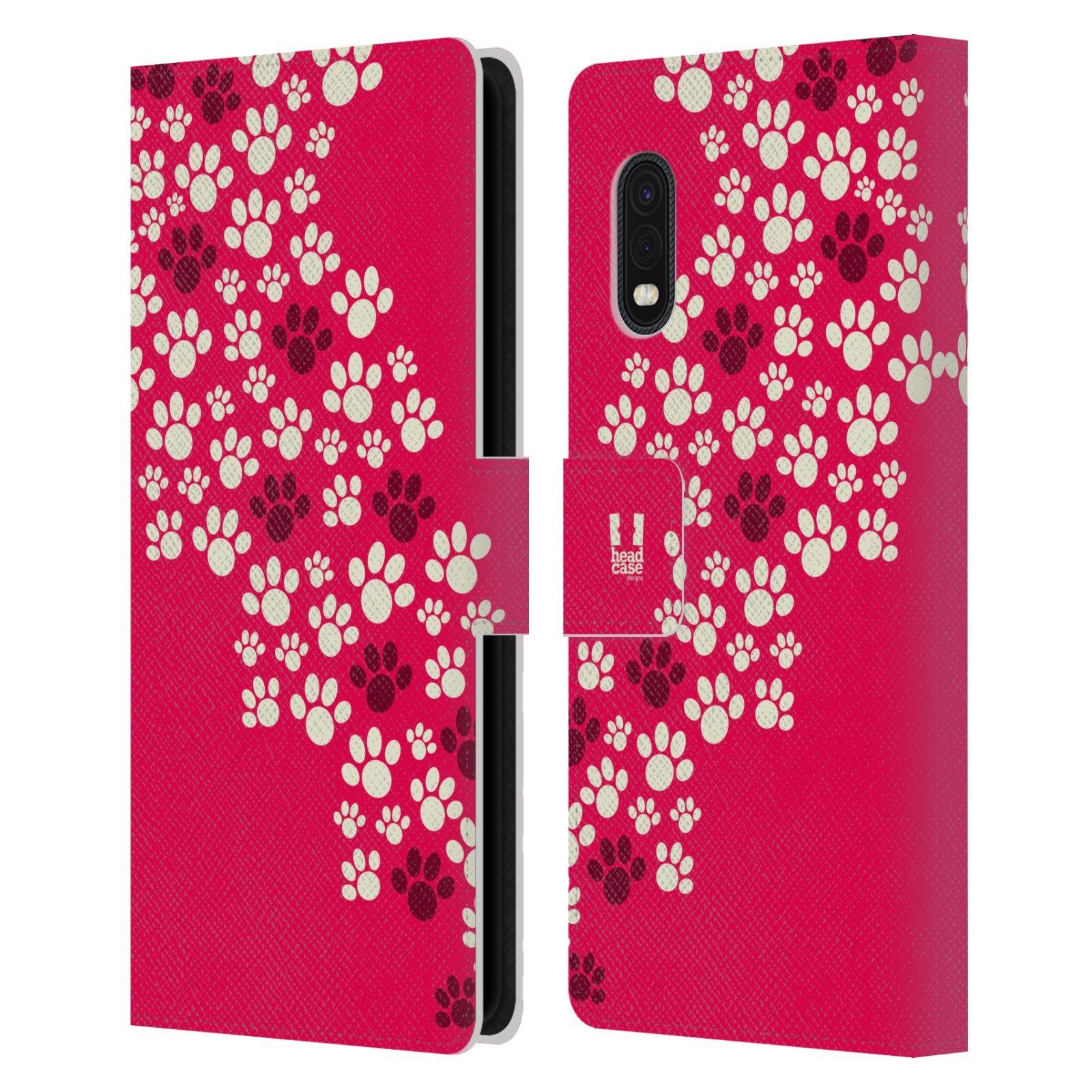 Flipové pouzdro pro mobil Samsung Galaxy Xcover Pro Pejsek ťapky růžová barva