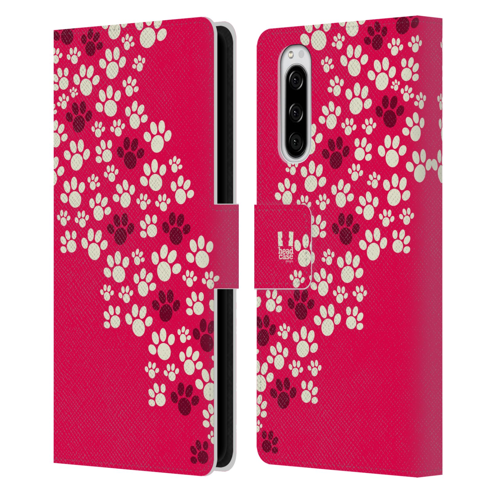 Pouzdro na mobil Sony Xperia 5 Pejsek ťapky růžová barva