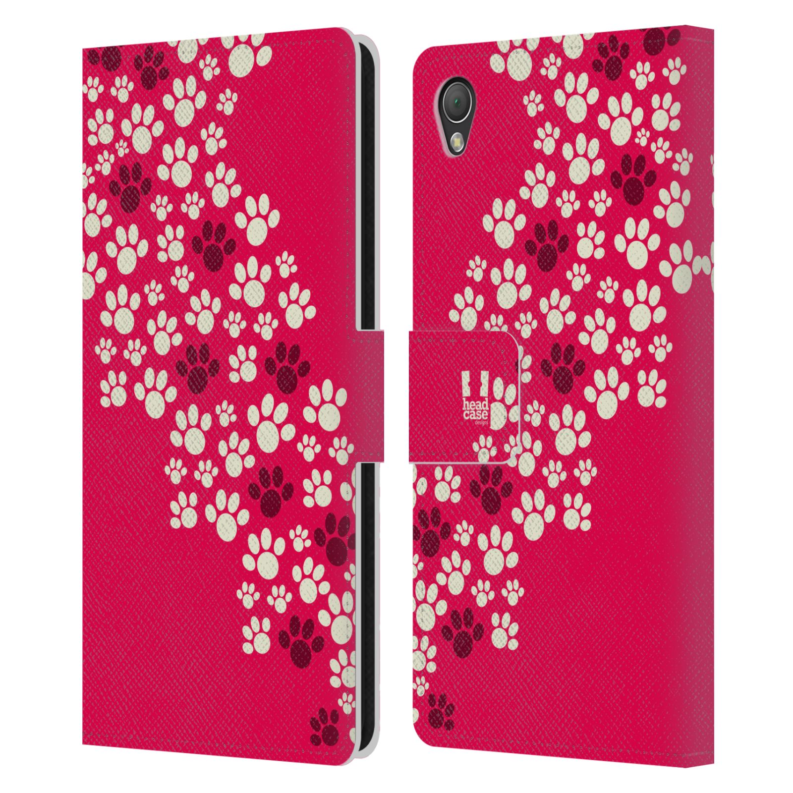 HEAD CASE Flipové pouzdro pro mobil SONY XPERIA Z3 Pejsek ťapky růžová barva