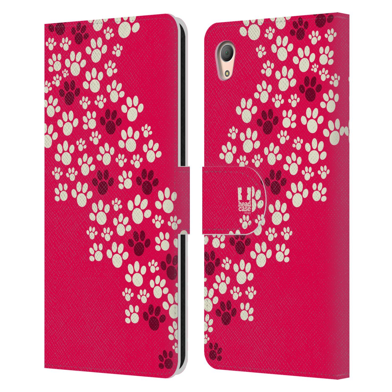 HEAD CASE Flipové pouzdro pro mobil SONY XPERIA Z3+ (PLUS) Pejsek ťapky růžová barva