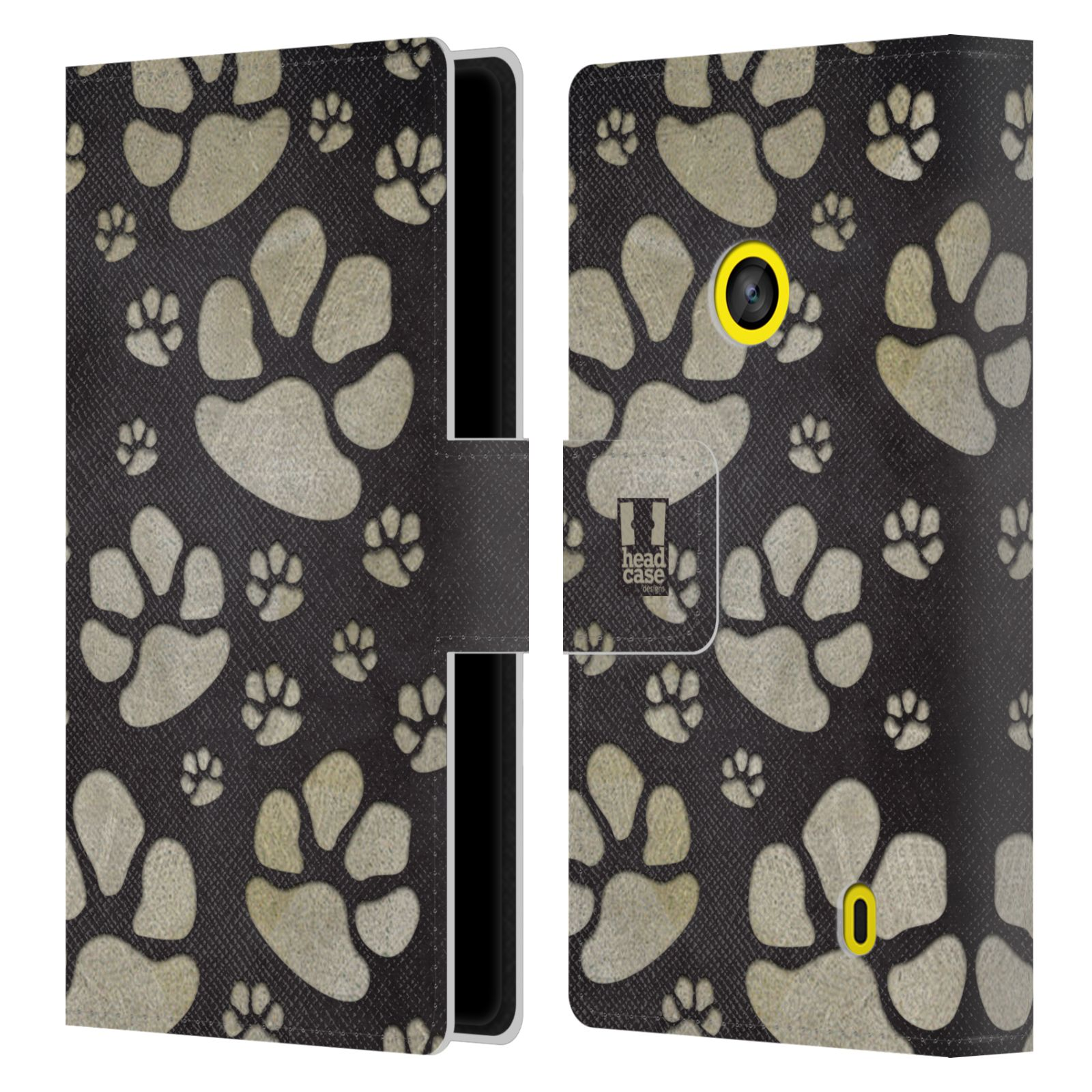 HEAD CASE Flipové pouzdro pro mobil NOKIA LUMIA 520 / 525 Pejsek ťapky velké tmavá