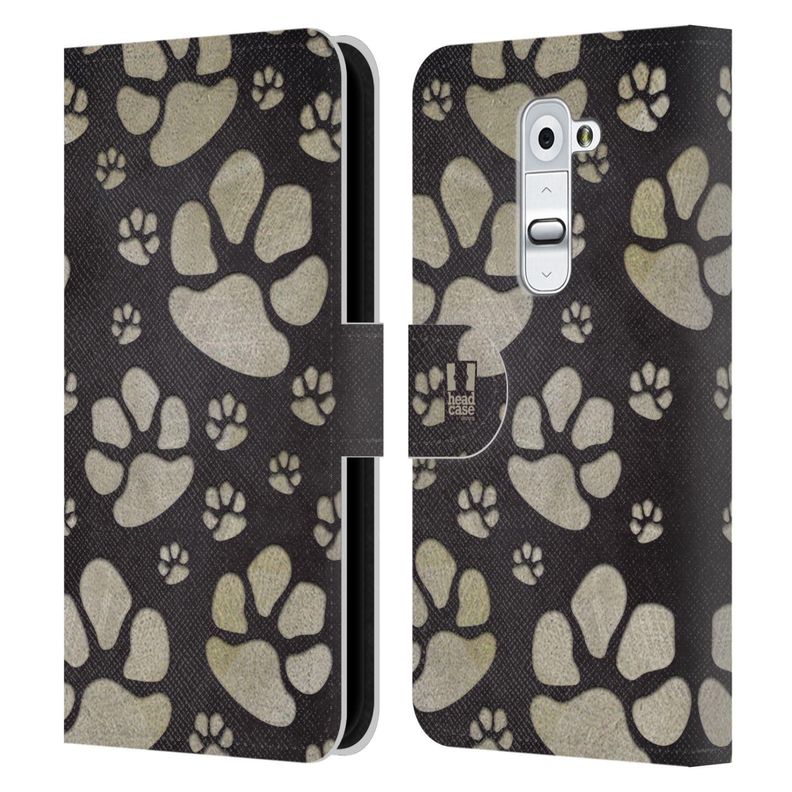 HEAD CASE Flipové pouzdro pro mobil LG G2 (D802) Pejsek ťapky velké tmavá