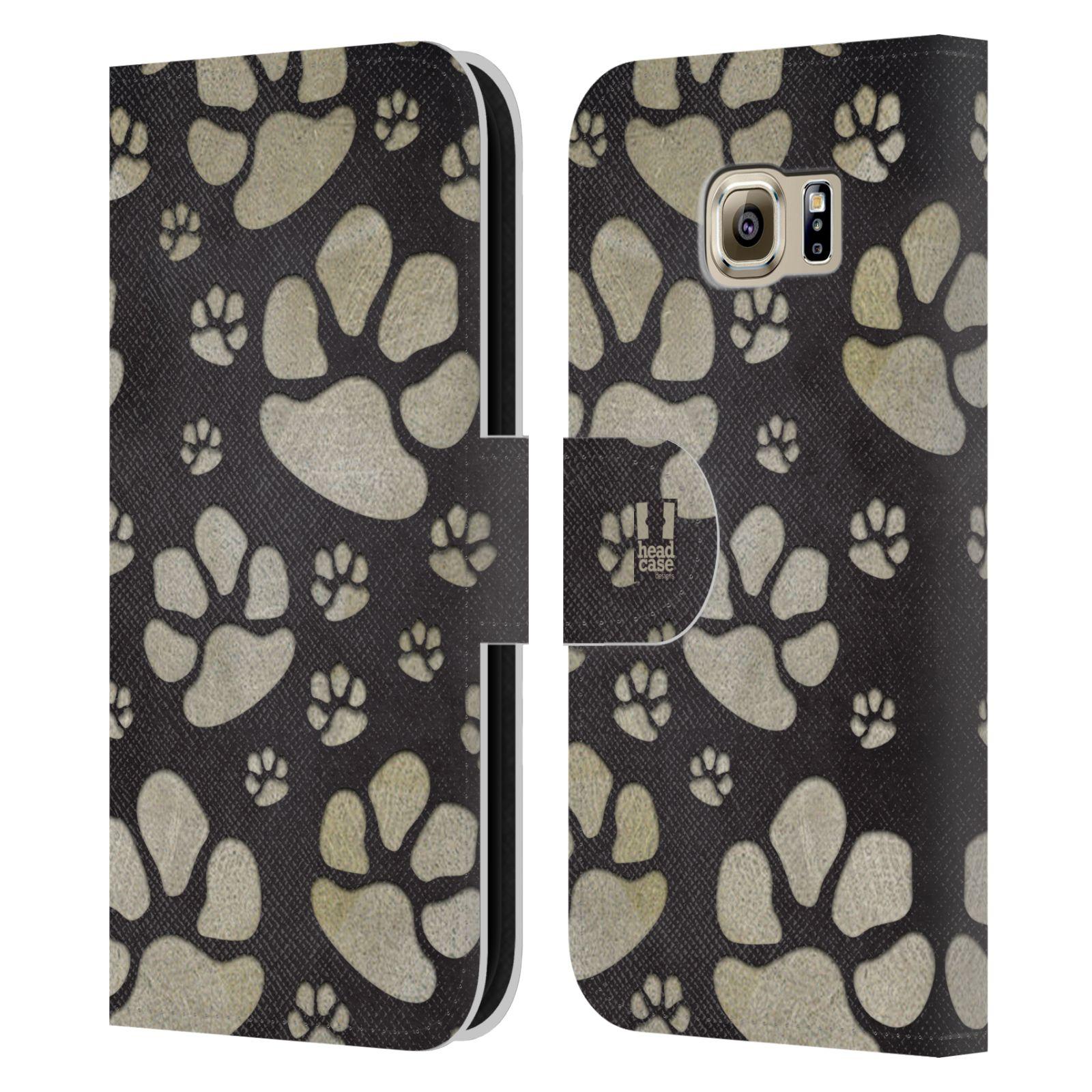 HEAD CASE Flipové pouzdro pro mobil Samsung Galaxy S6 (G9200) Pejsek ťapky velké tmavá