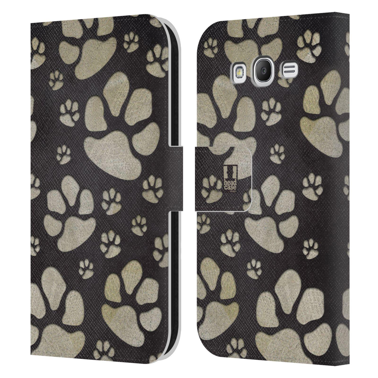 HEAD CASE Flipové pouzdro pro mobil Samsung Galaxy Grand i9080 Pejsek ťapky velké tmavá
