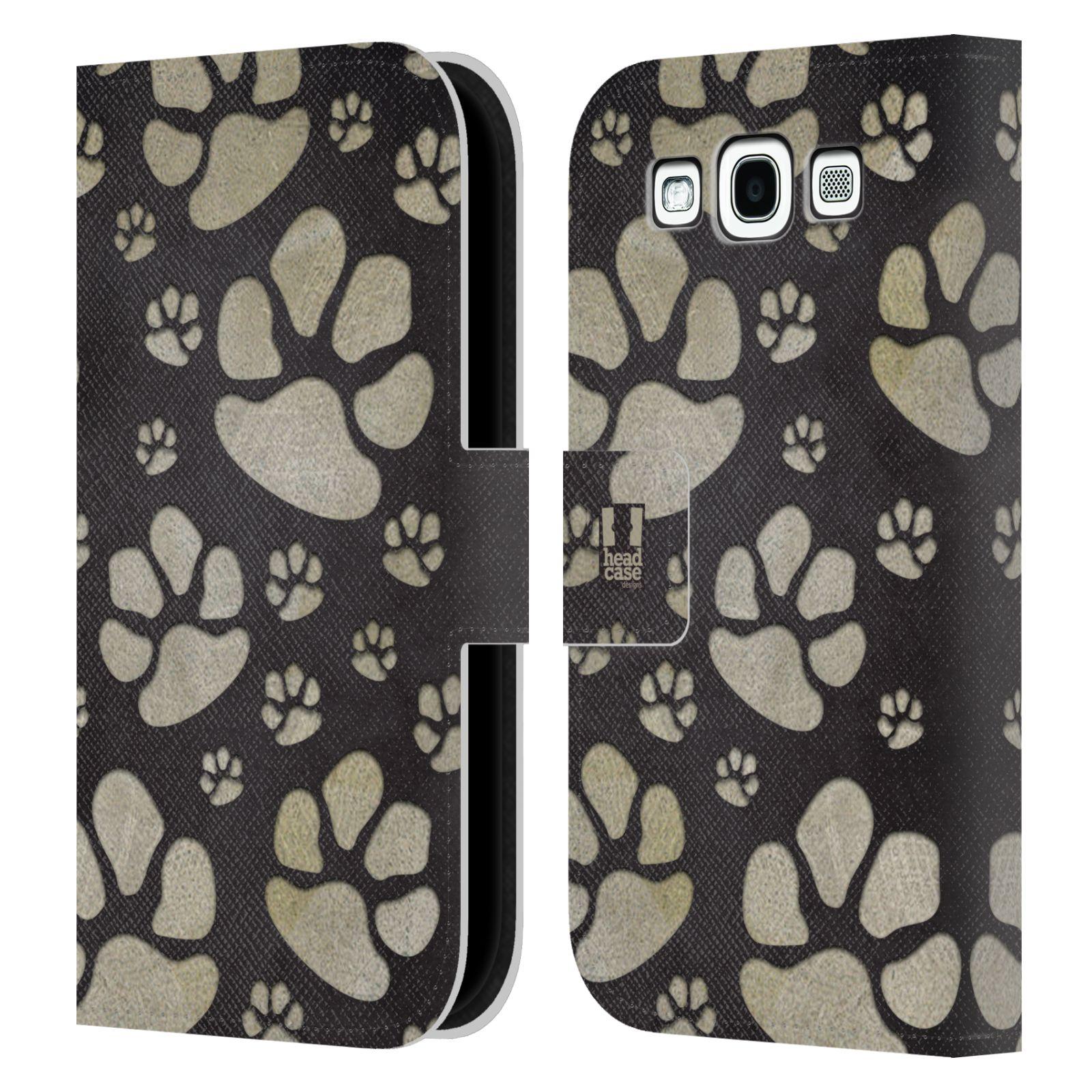 HEAD CASE Flipové pouzdro pro mobil Samsung Galaxy S3 Pejsek ťapky velké tmavá