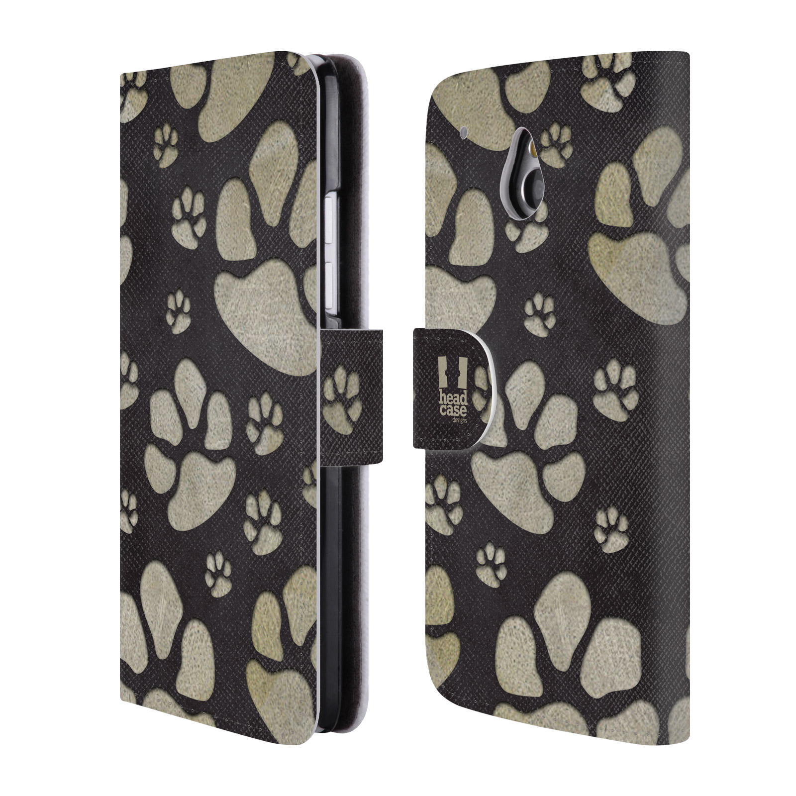 HEAD CASE Flipové pouzdro pro mobil HTC ONE MINI (M4) Pejsek ťapky velké tmavá