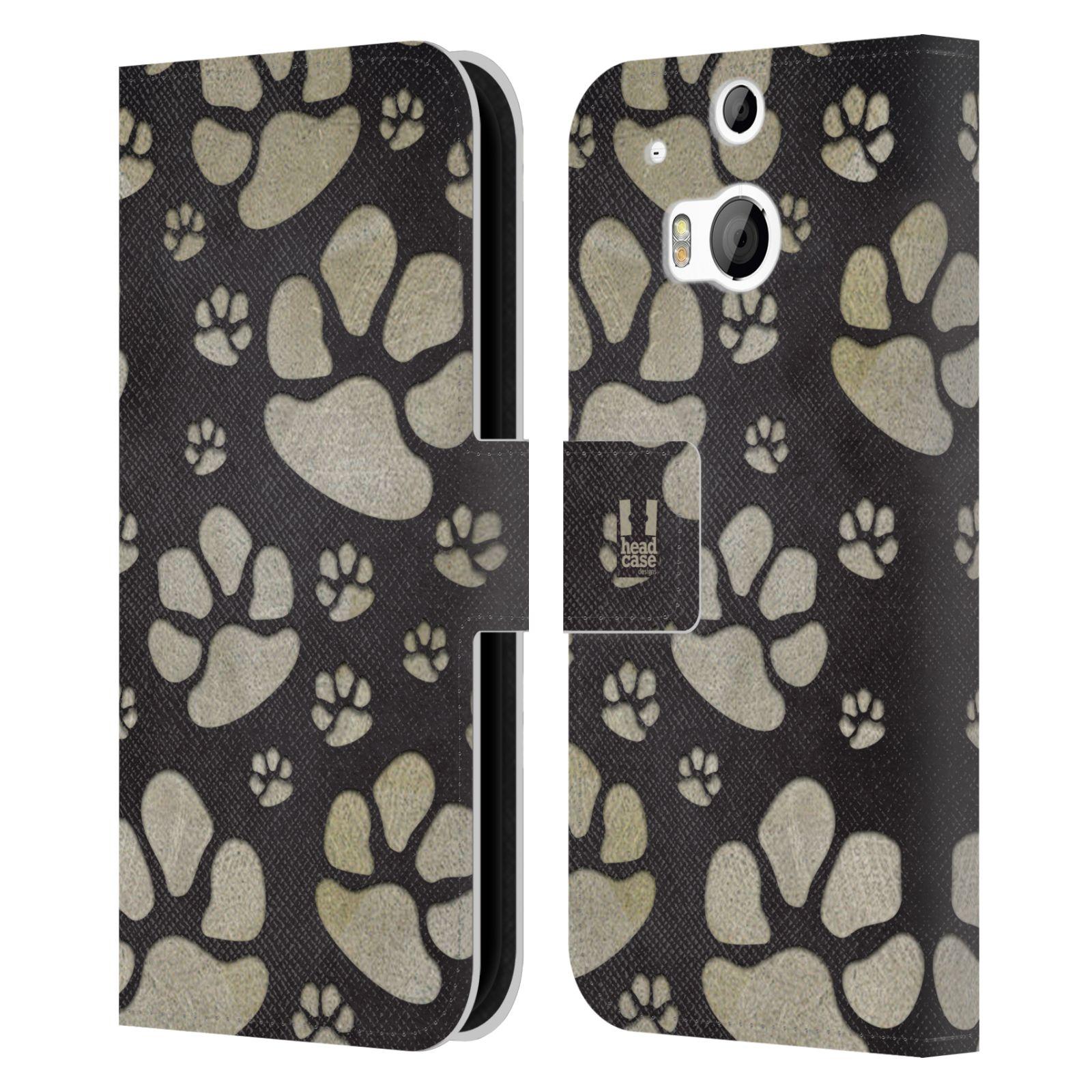 HEAD CASE Flipové pouzdro pro mobil HTC ONE (M8, M8s) Pejsek ťapky velké tmavá