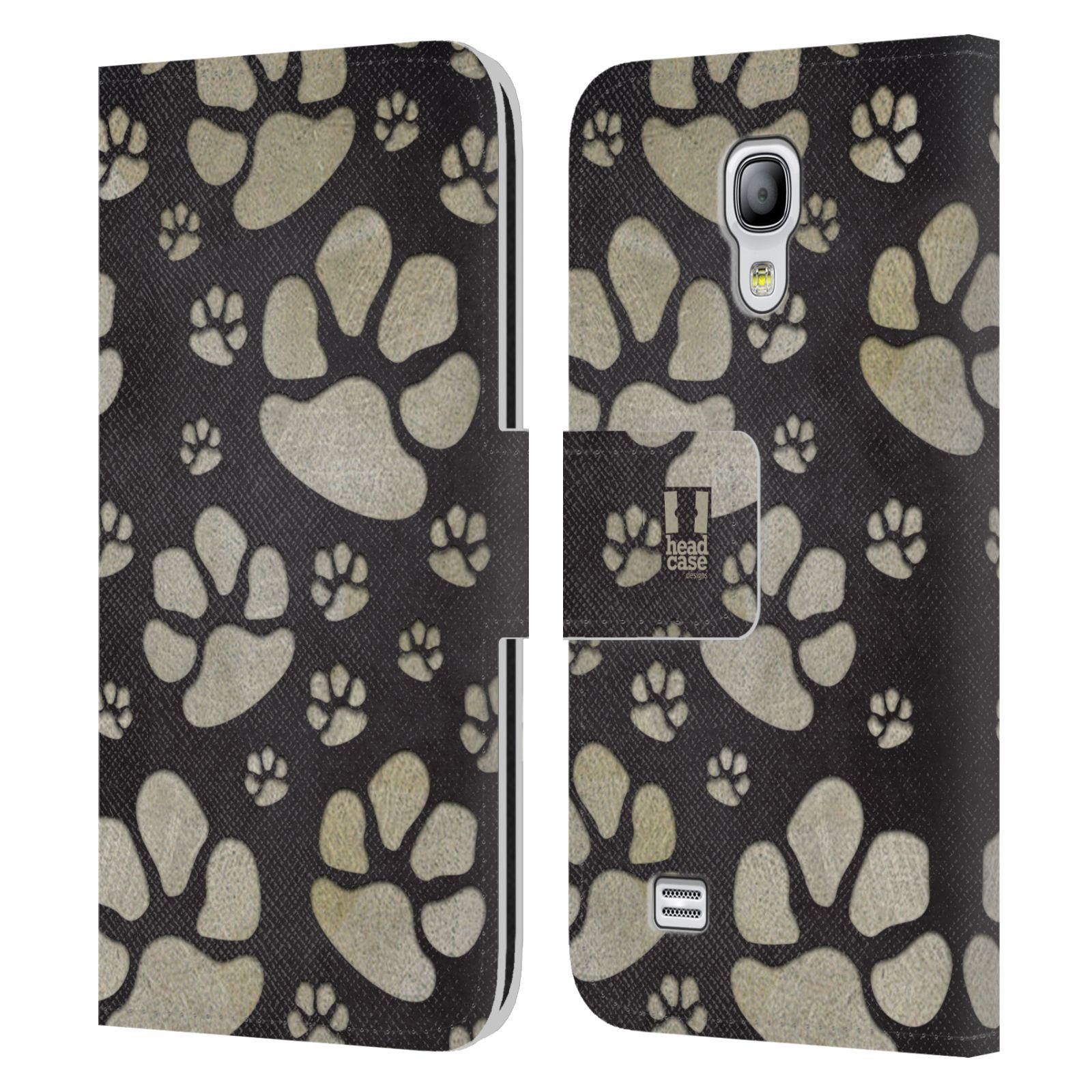 HEAD CASE Flipové pouzdro pro mobil Samsung Galaxy S4 MINI / S4 MINI DUOS Pejsek ťapky velké tmavá