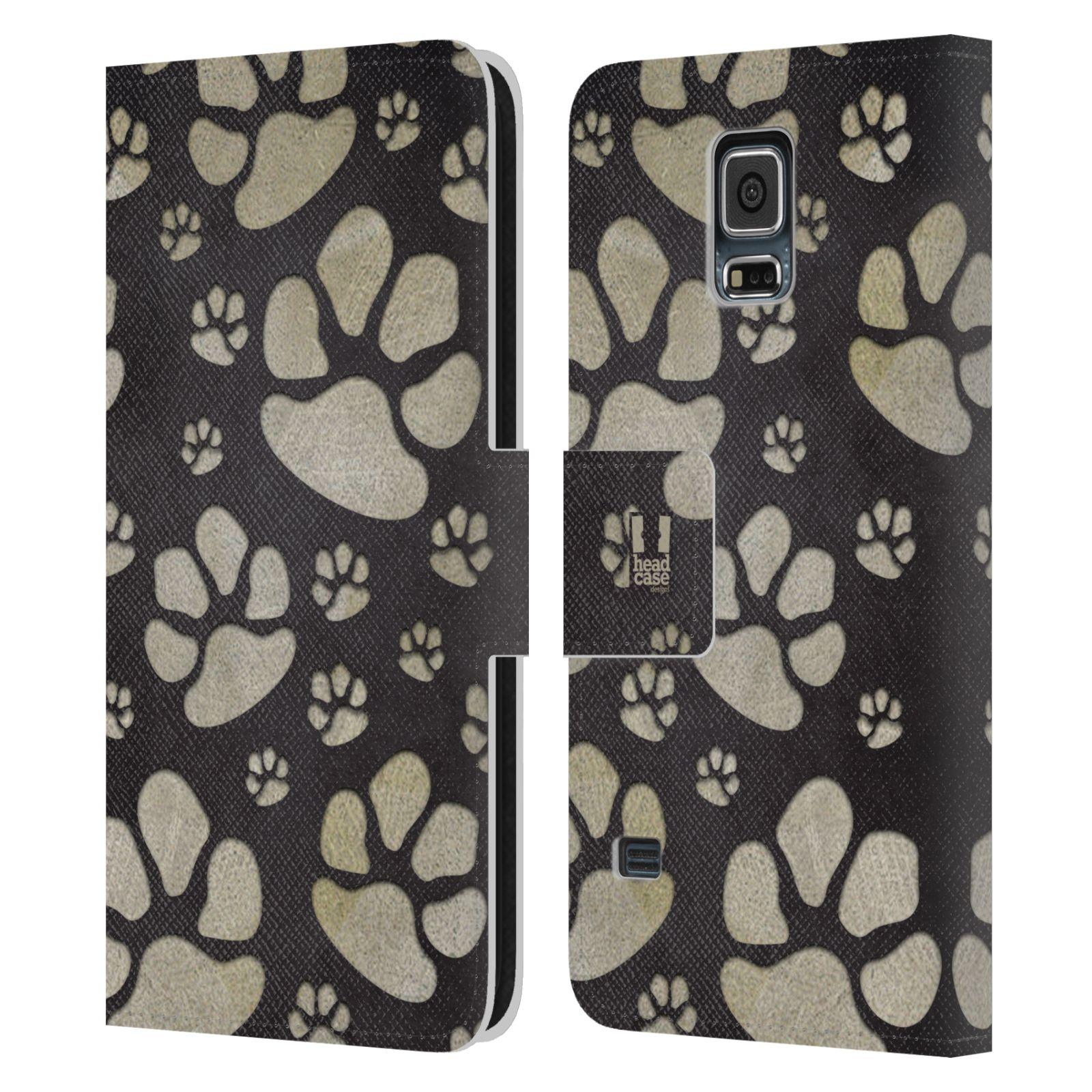 HEAD CASE Flipové pouzdro pro mobil Samsung Galaxy S5 / S5 NEO Pejsek ťapky velké tmavá