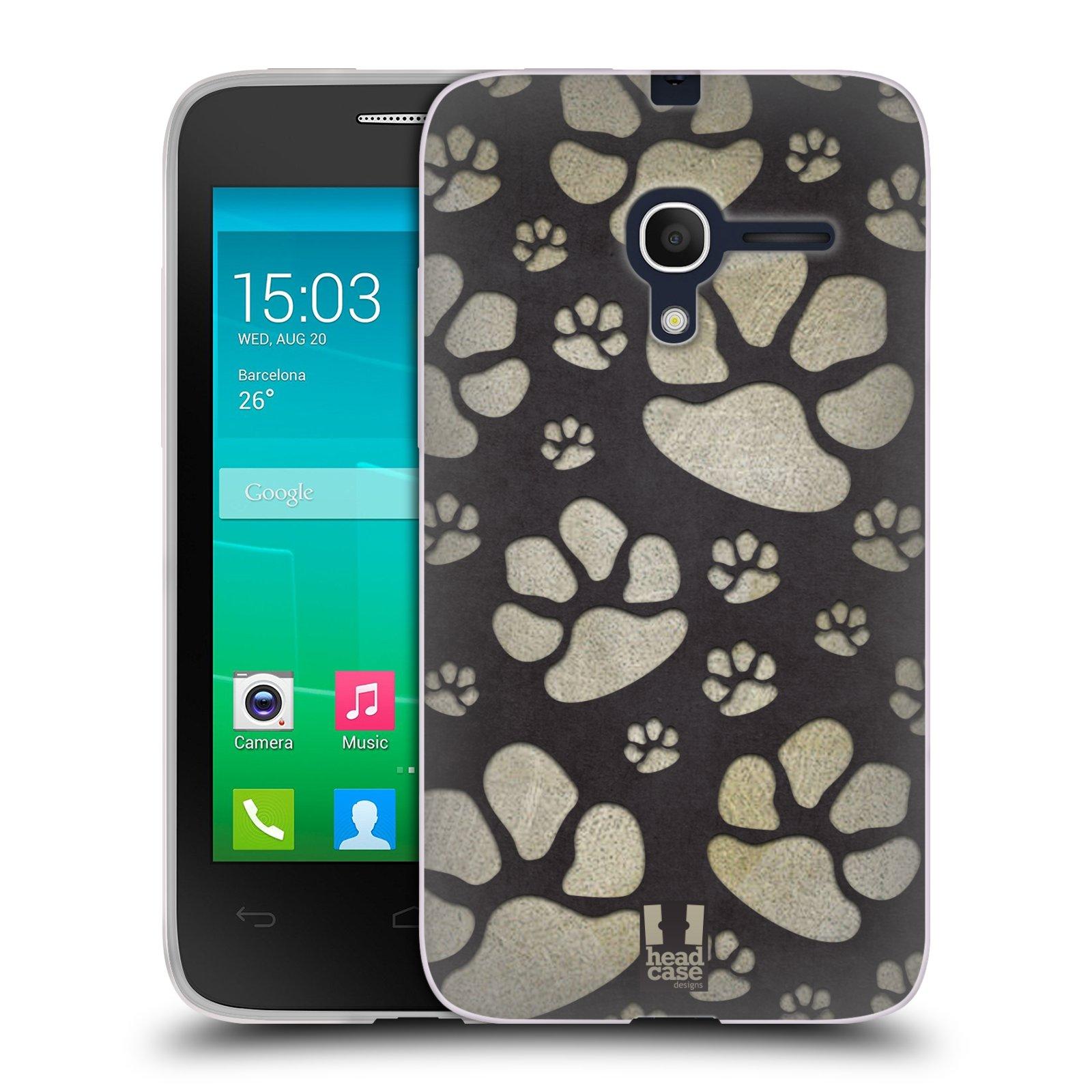 Silikonové pouzdro na mobil Alcatel One Touch Pop D3 HEAD CASE TLAPKY ŠEDÉ (Silikonový kryt či obal na mobilní telefon Alcatel OT- 4035D POP D3)