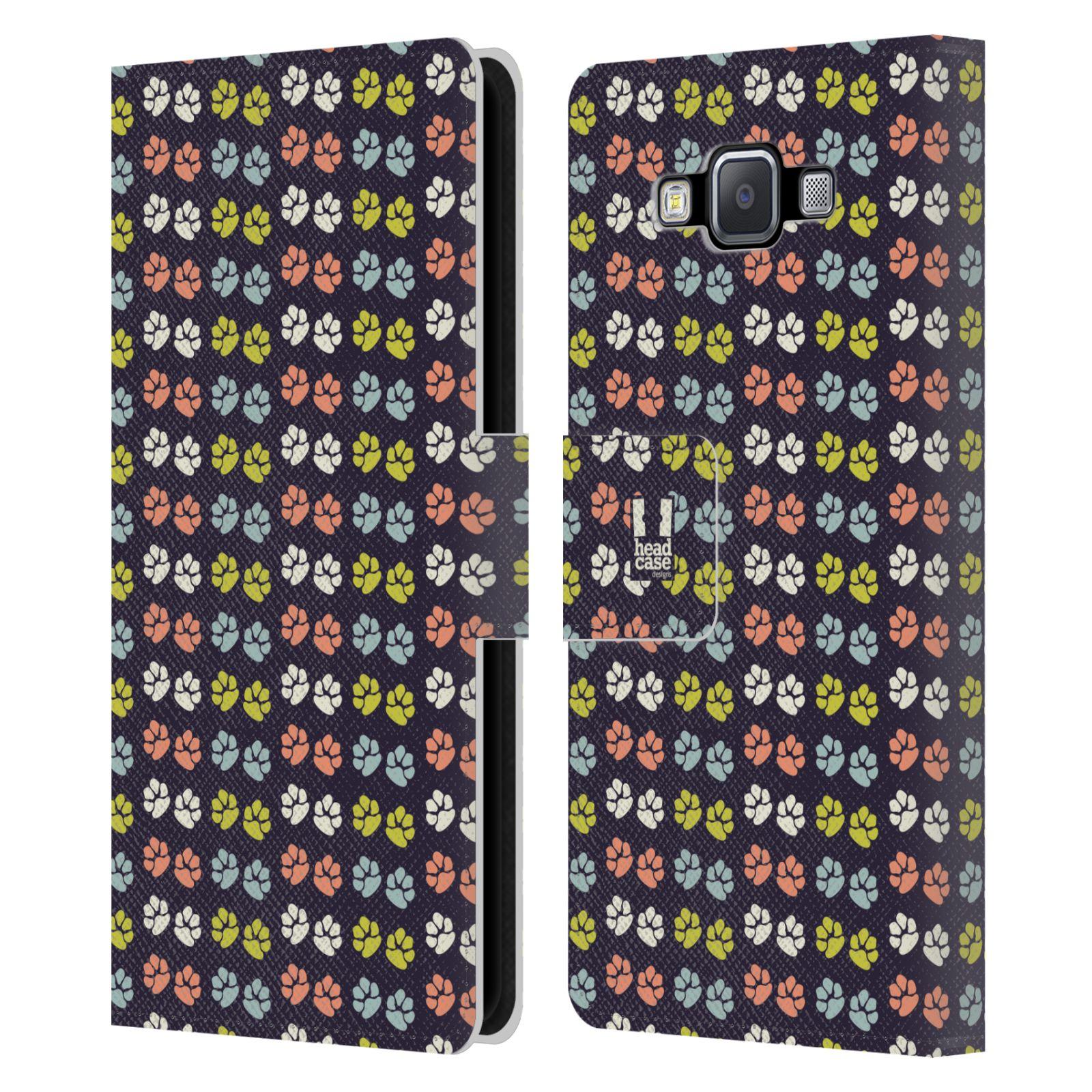 HEAD CASE Flipové pouzdro pro mobil Samsung Galaxy A5 Pejsek ťapky barevné RETRO
