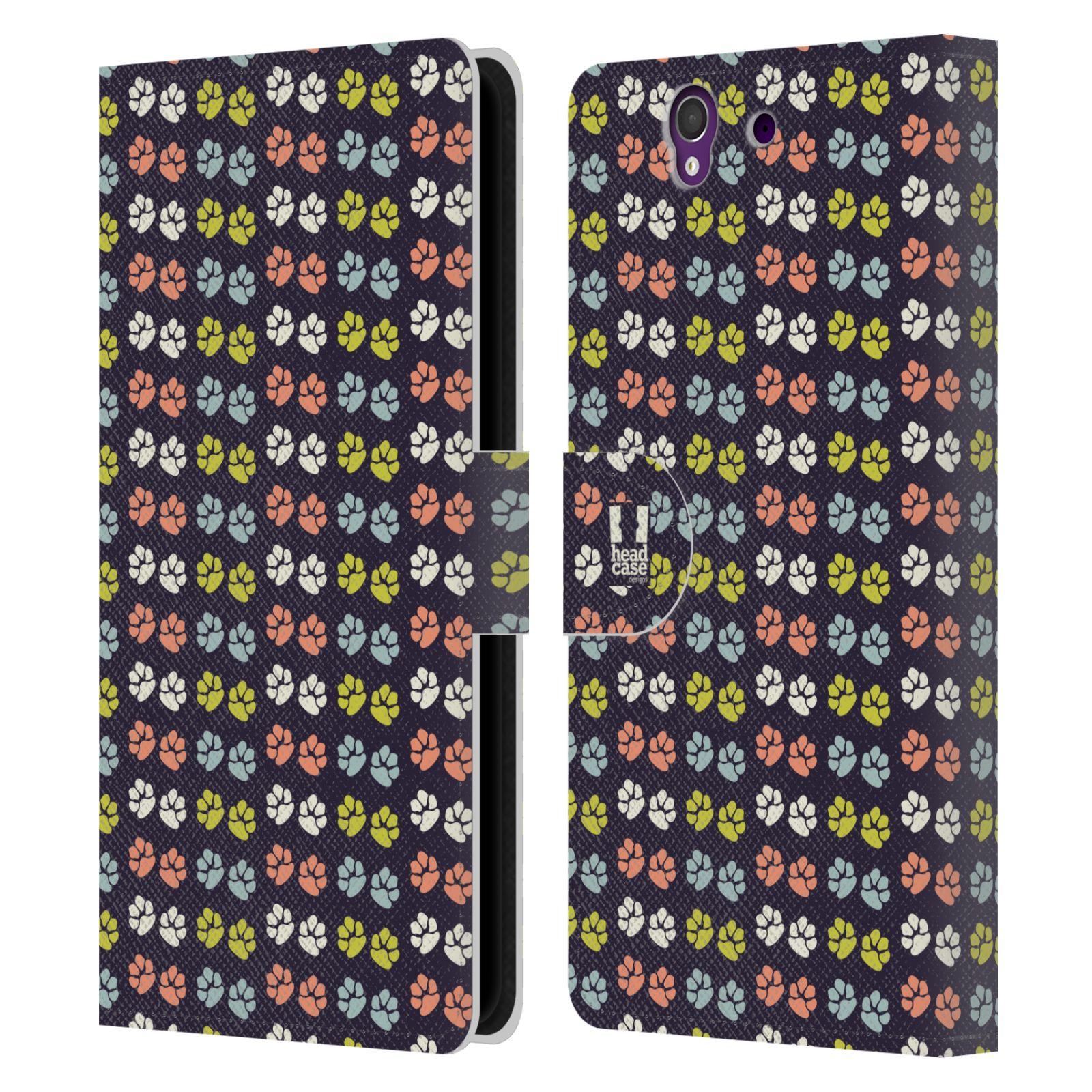 HEAD CASE Flipové pouzdro pro mobil SONY XPERIA Z (C6603) Pejsek ťapky barevné RETRO