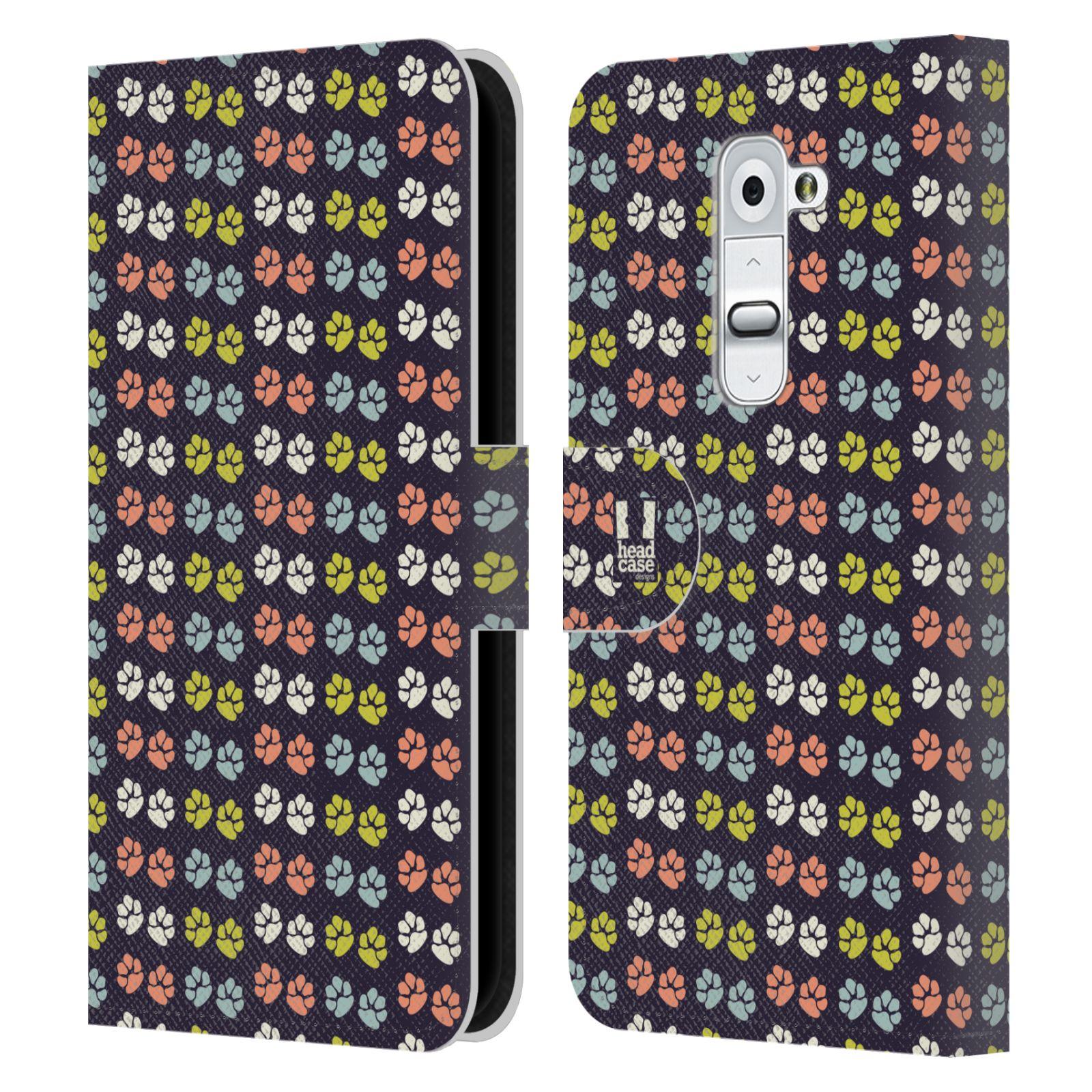 HEAD CASE Flipové pouzdro pro mobil LG G2 (D802) Pejsek ťapky barevné RETRO