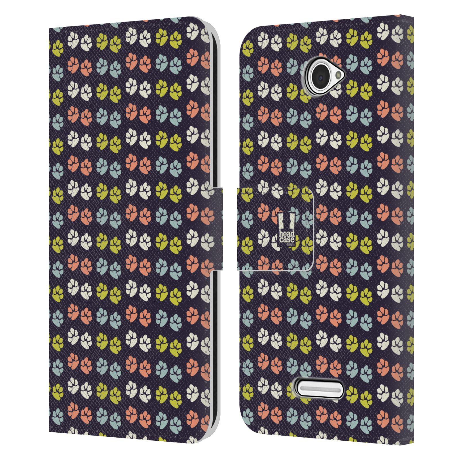 HEAD CASE Flipové pouzdro pro mobil SONY XPERIA E4 Pejsek ťapky barevné RETRO