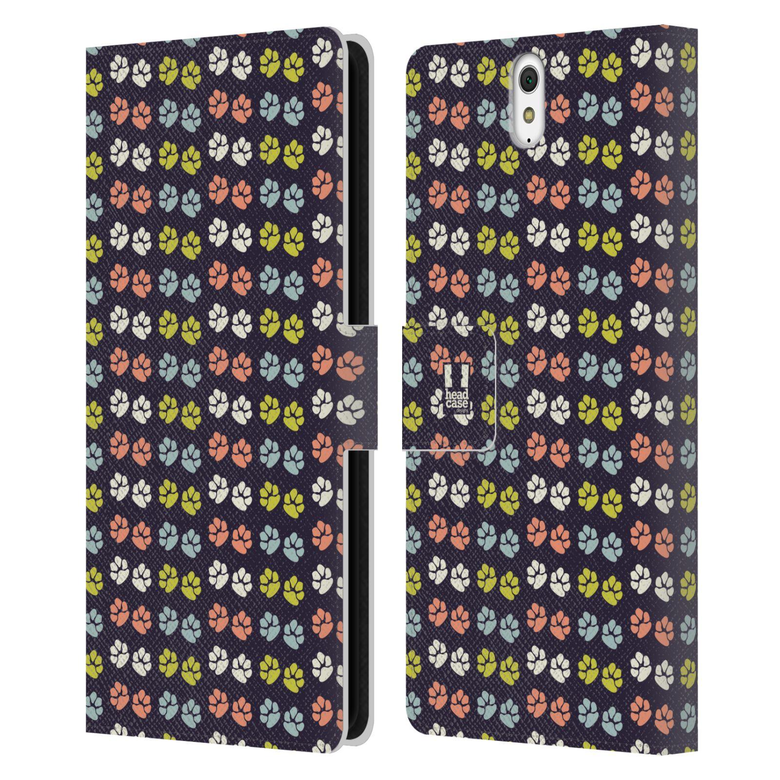 HEAD CASE Flipové pouzdro pro mobil SONY XPERIA C5 Ultra Pejsek ťapky barevné RETRO